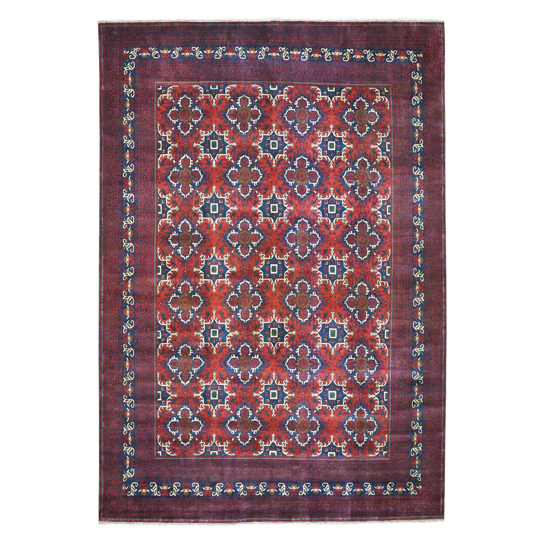 "9'10""X13'2"" Afghan Khamyab Natural Dyes Pure Wool Hand-Knotted Oriental Rug moaeab6b"