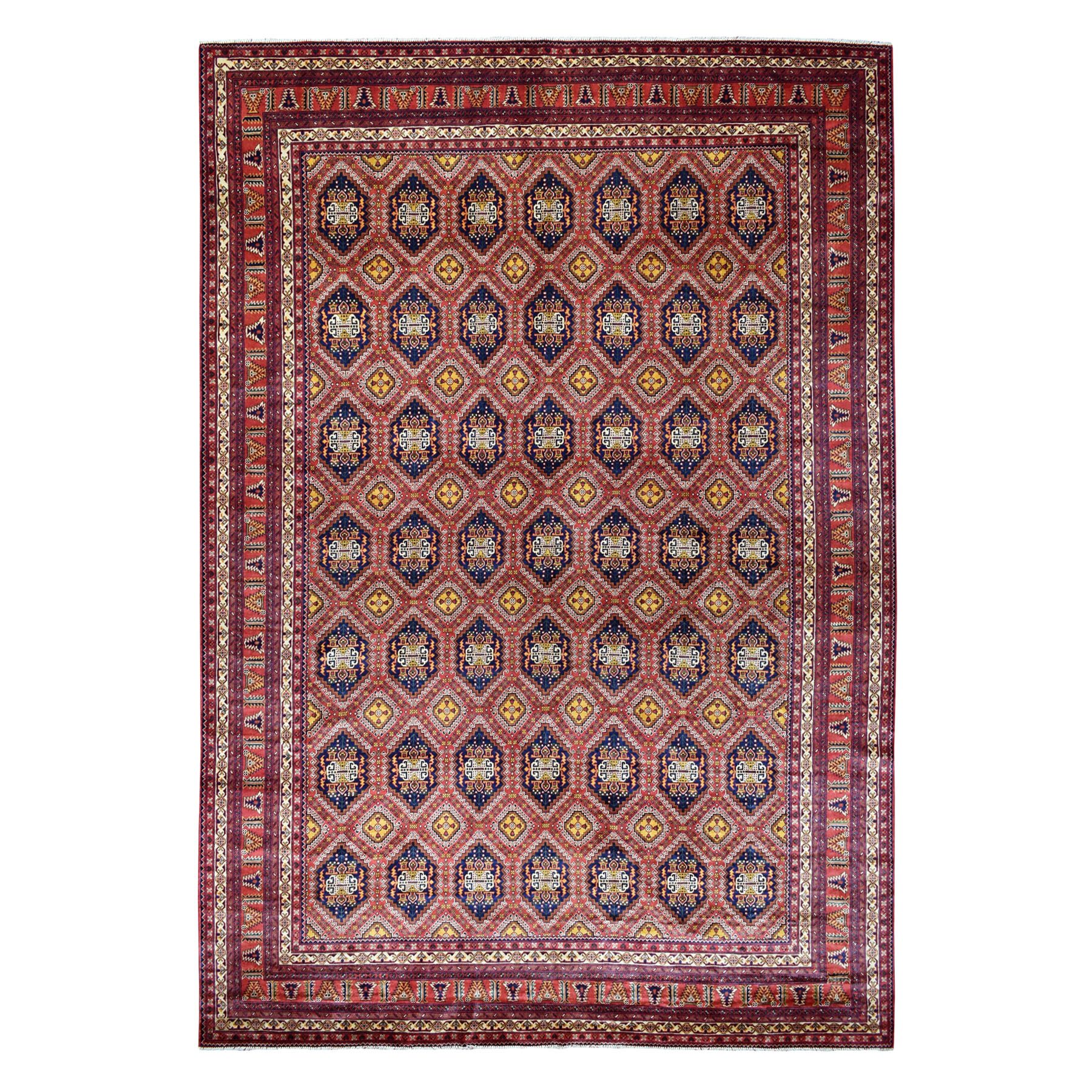 """10'X12'6"""" Repetitive Design Pure Wool Afghan Khamyab Hand-Knotted Oriental Rug moaeab6c"""