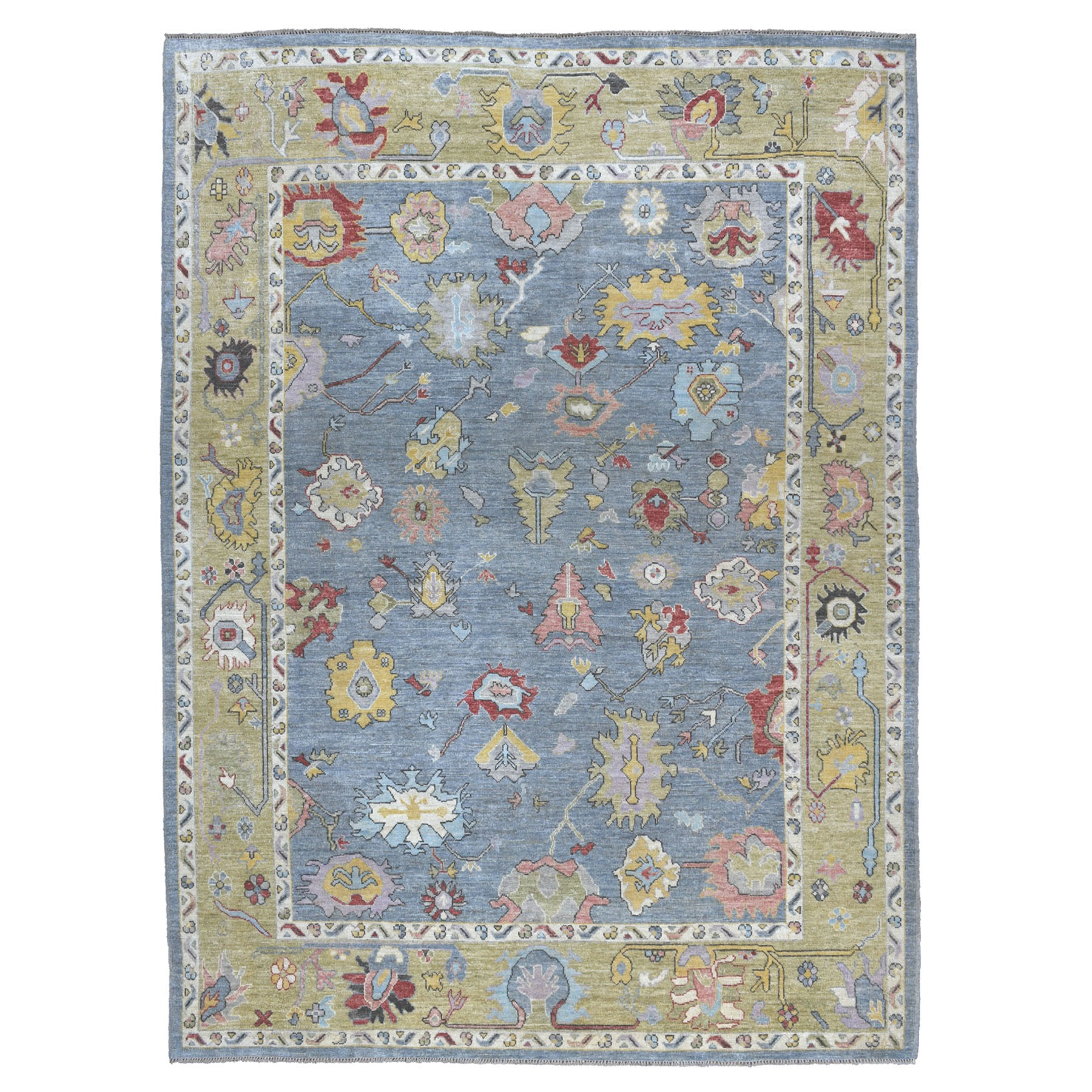 """9'X11'9"""" Soft Angora Pure Wool Gray Oushak Hand-Knotted Oriental Colorful Rug moaeab67"""