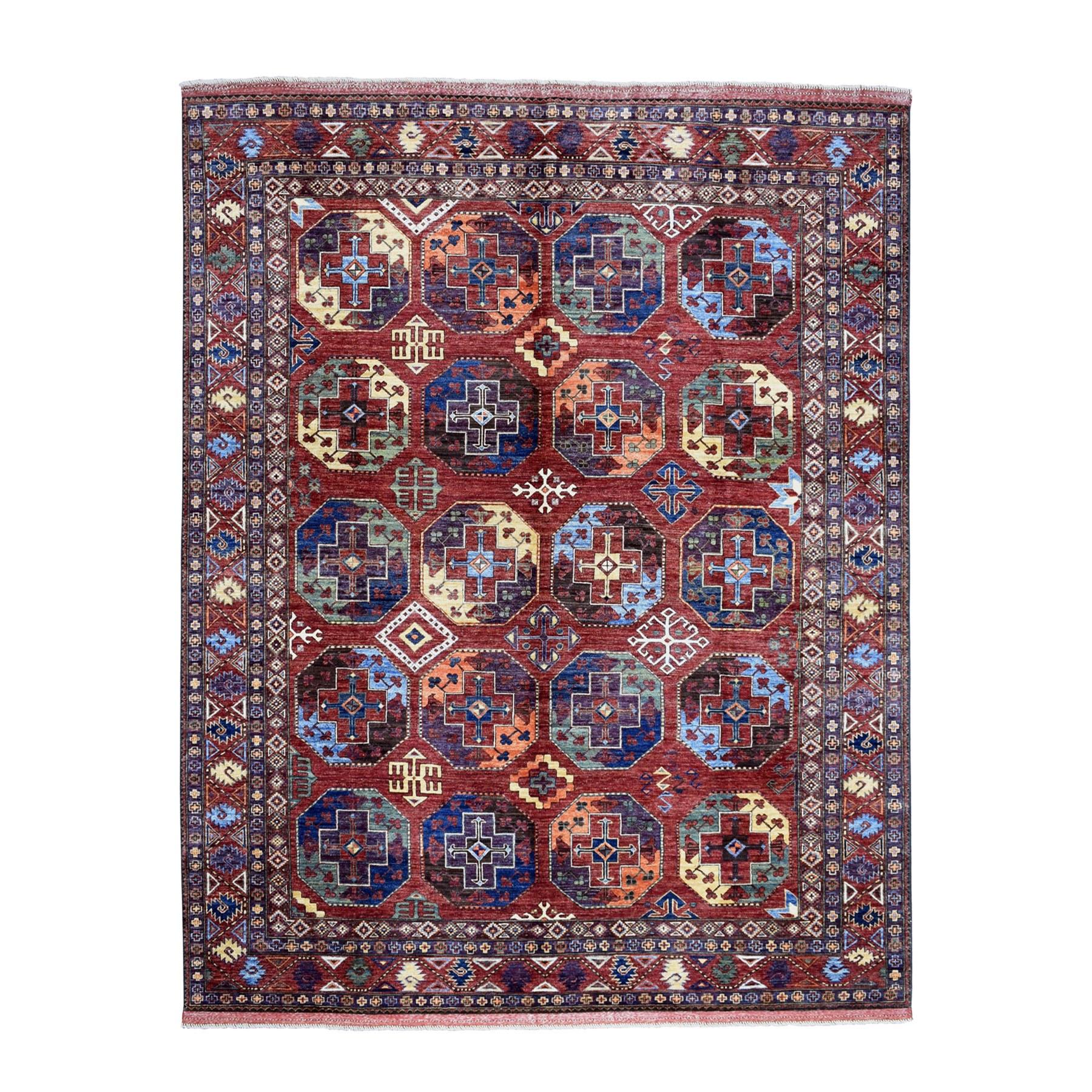 "8'3""X10' Afghan Ersari Elephant Feet Design Pure Wool Hand-Knotted Oriental Rug moaeab76"