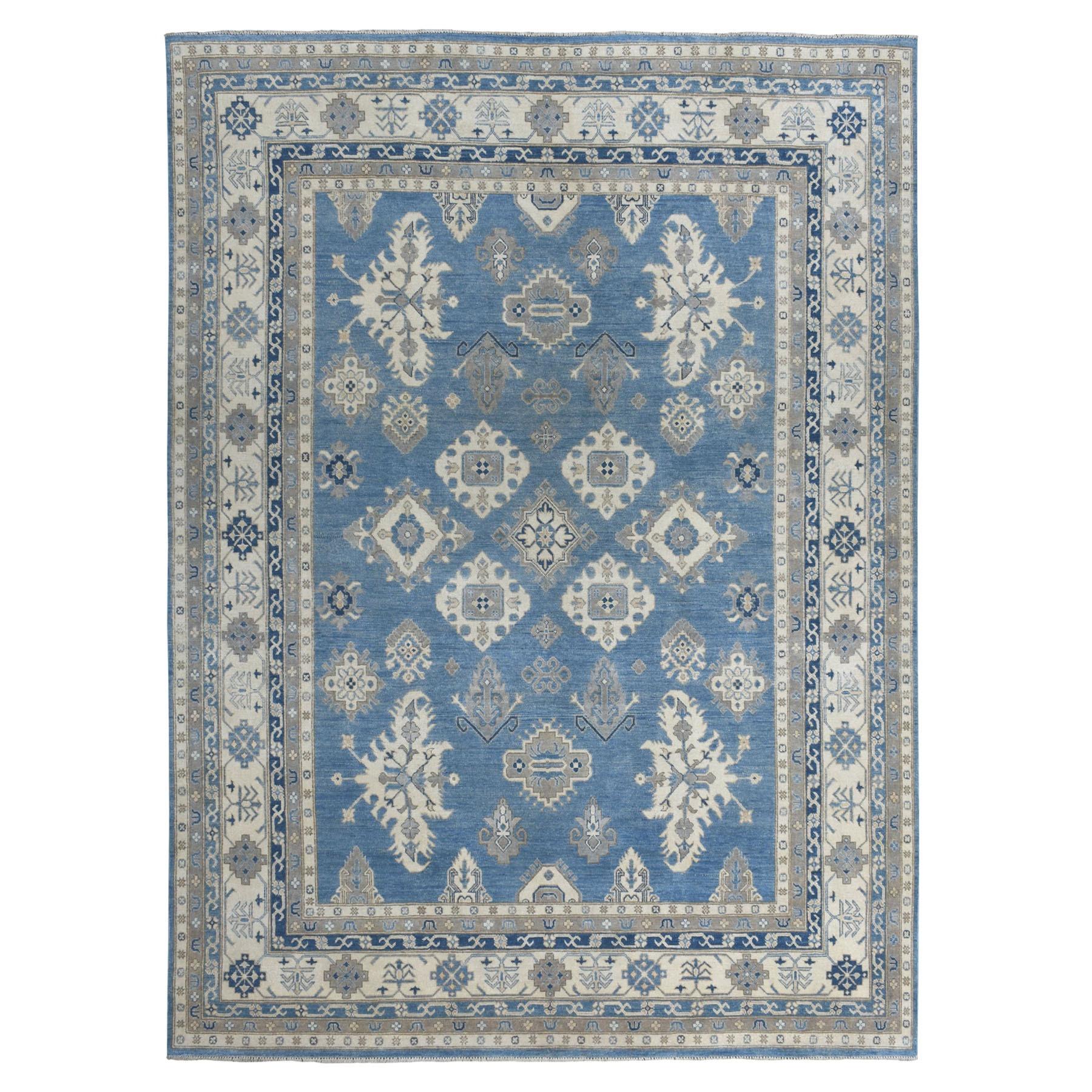"8'9""X11'7"" Hand Knotted Blue Vintage Look Kazak Pure Wool Oriental Rug moaeab8c"
