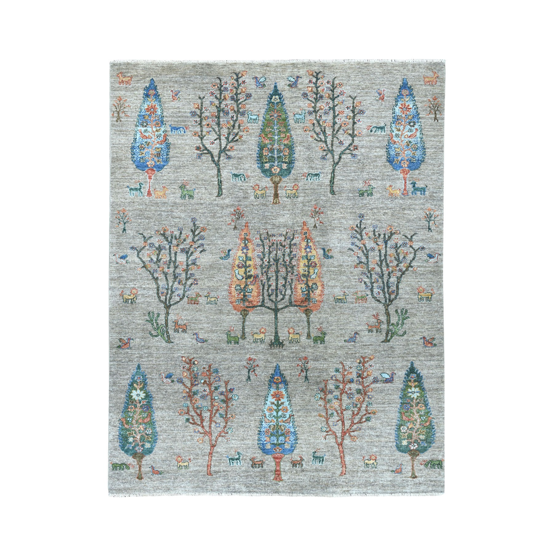 "5'X7'2"" Gray Willow And Cypress Tree Design Pure Wool Hand-Knotted Oriental Rug moaeab8d"