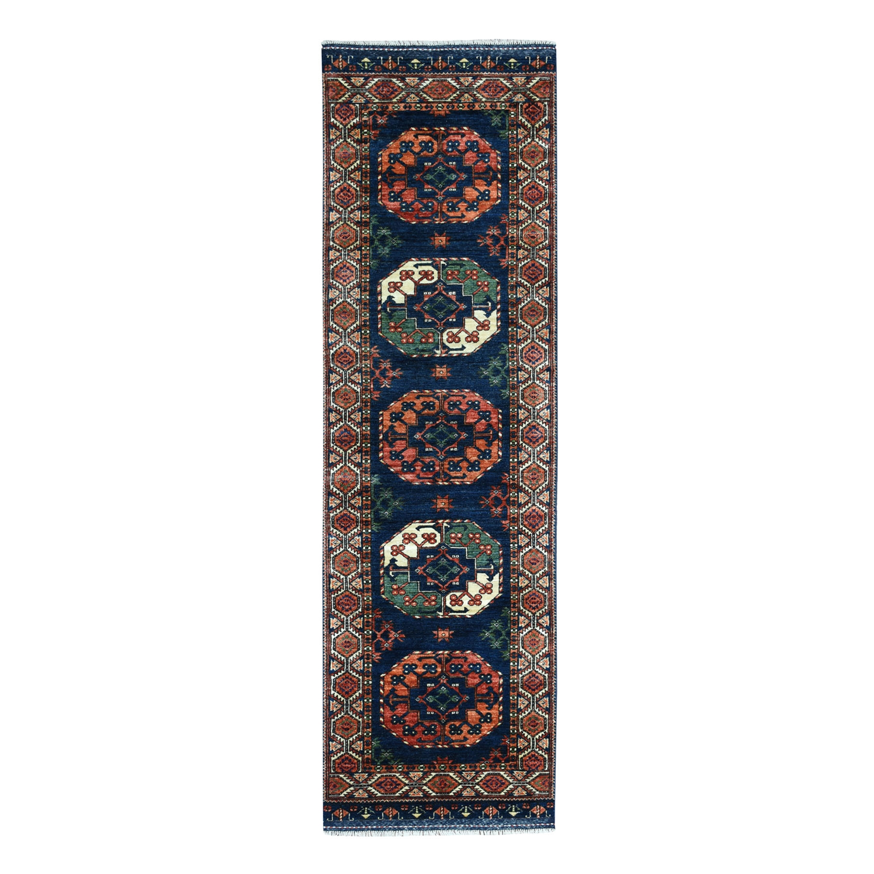"2'9""X9'8"" Afghan Ersari Elephant Feet Design Pure Wool Hand-Knotted Runner Oriental Rug moaeab9a"