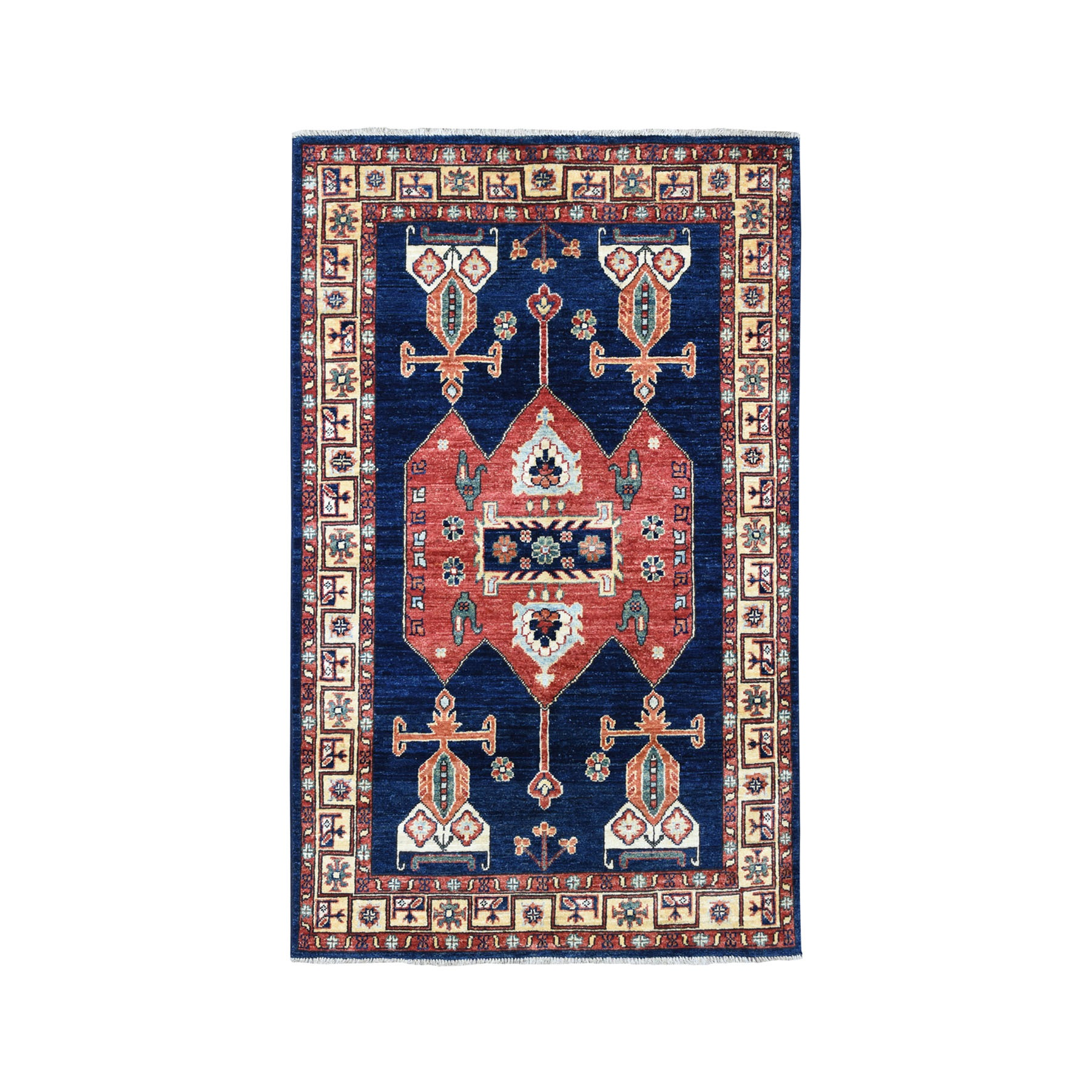 "3'4""X5'2"" Blue Hand-Knotted Afghan Ersari Pure Wool Oriental Rug moaeac00"