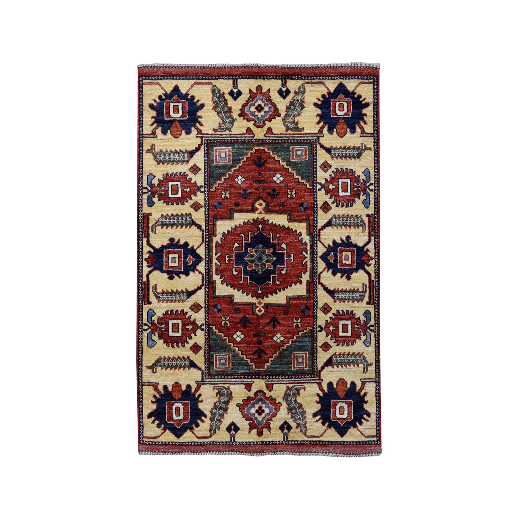 "3'5""X4'9"" Afghan Ersari Pure Wool Hand-Knotted Oriental Rug moaeac0a"