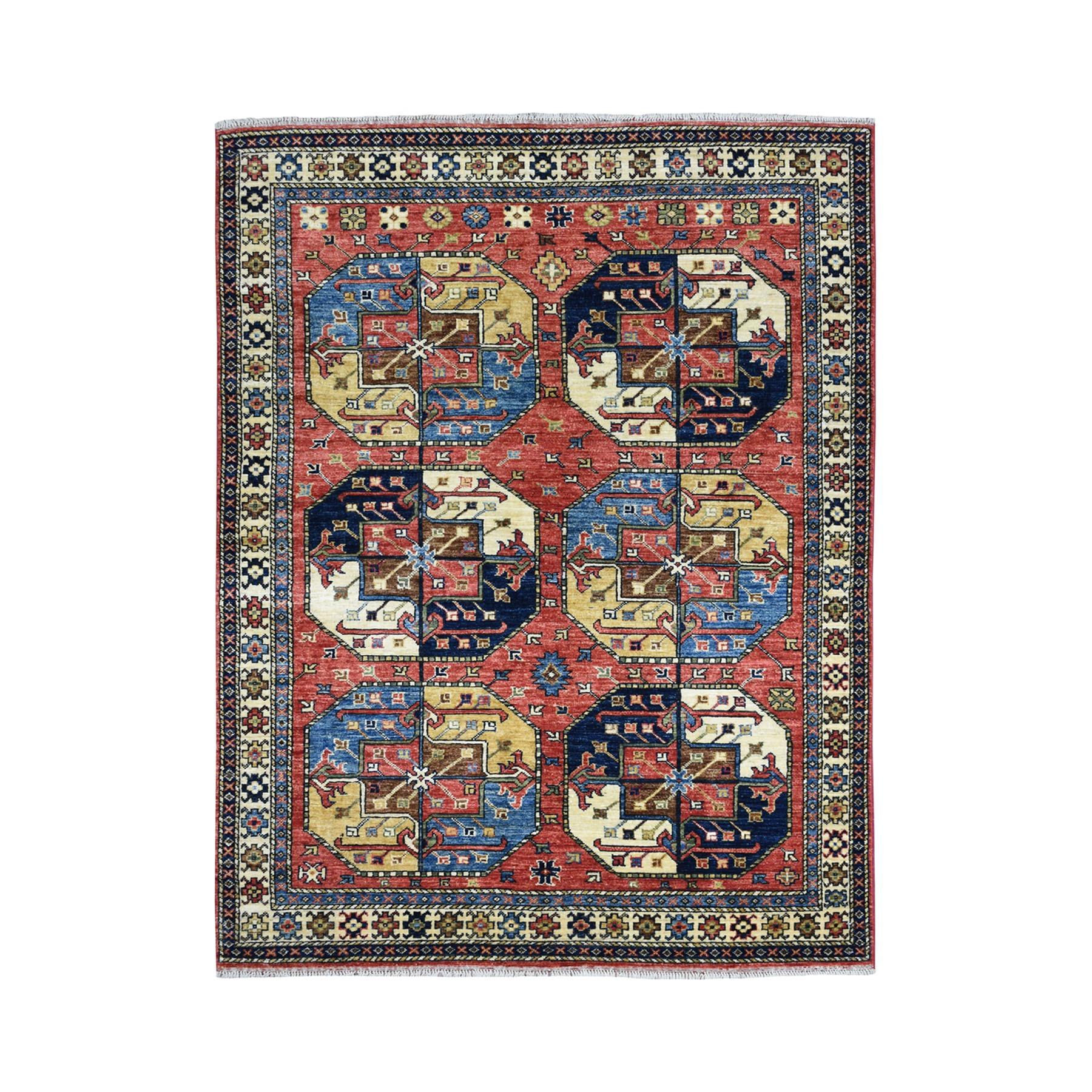 "4'10""X6'10"" Afghan Ersari Elephant Feet Design Pure Wool Hand-Knotted Oriental Rug moaeac06"
