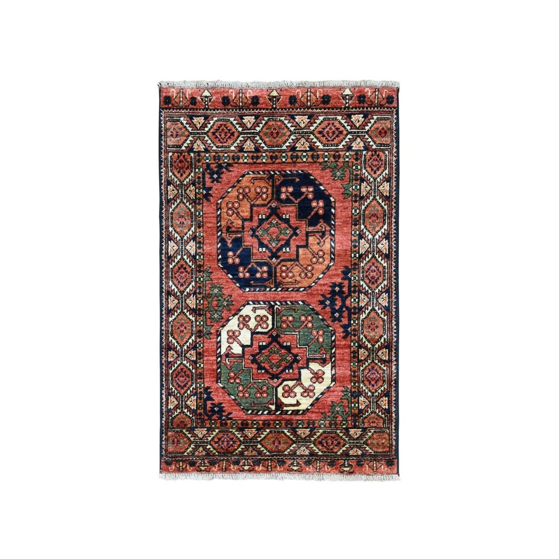 "2'10""X4' Afghan Ersari Elephant Feet Design Pure Wool Hand-Knotted Oriental Rug moaeacaa"