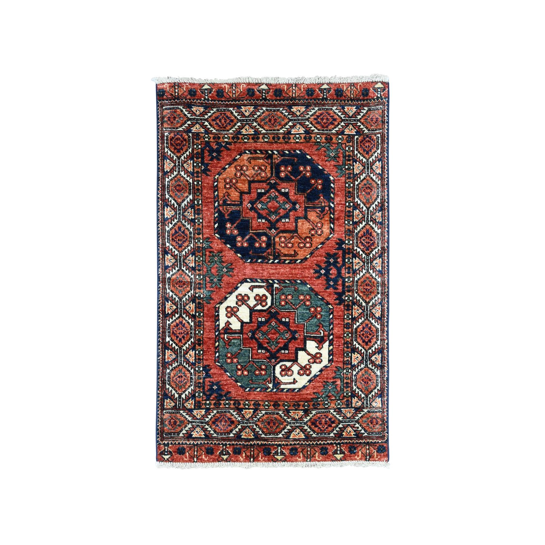 "2'8""X4' Afghan Ersari Elephant Feet Design Pure Wool Hand-Knotted Oriental Rug moaeaca9"