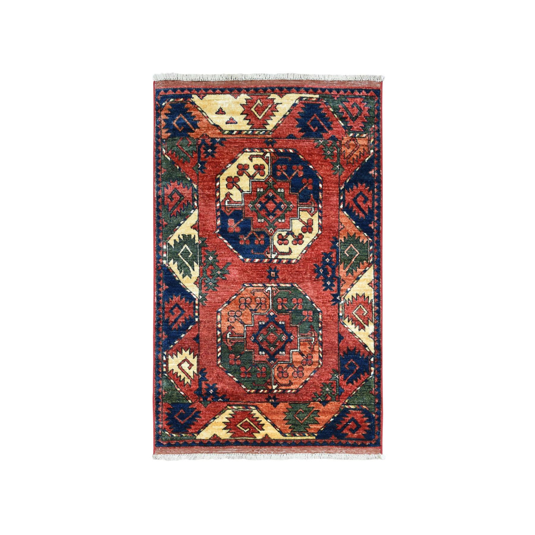 "2'9""X4'3""  Afghan Ersari Elephant Feet Design Pure Wool Hand-Knotted Oriental Rug moaeacba"