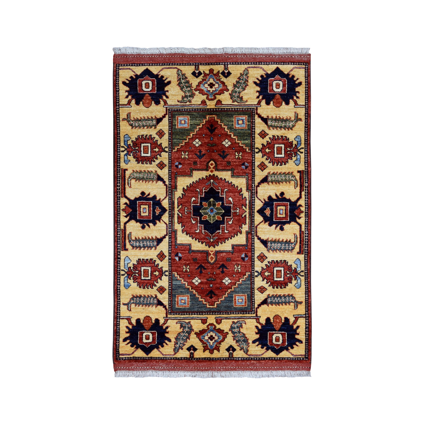 "3'4""X5' Afghan Ersari Pure Wool Hand-Knotted Oriental Rug moaeacbc"