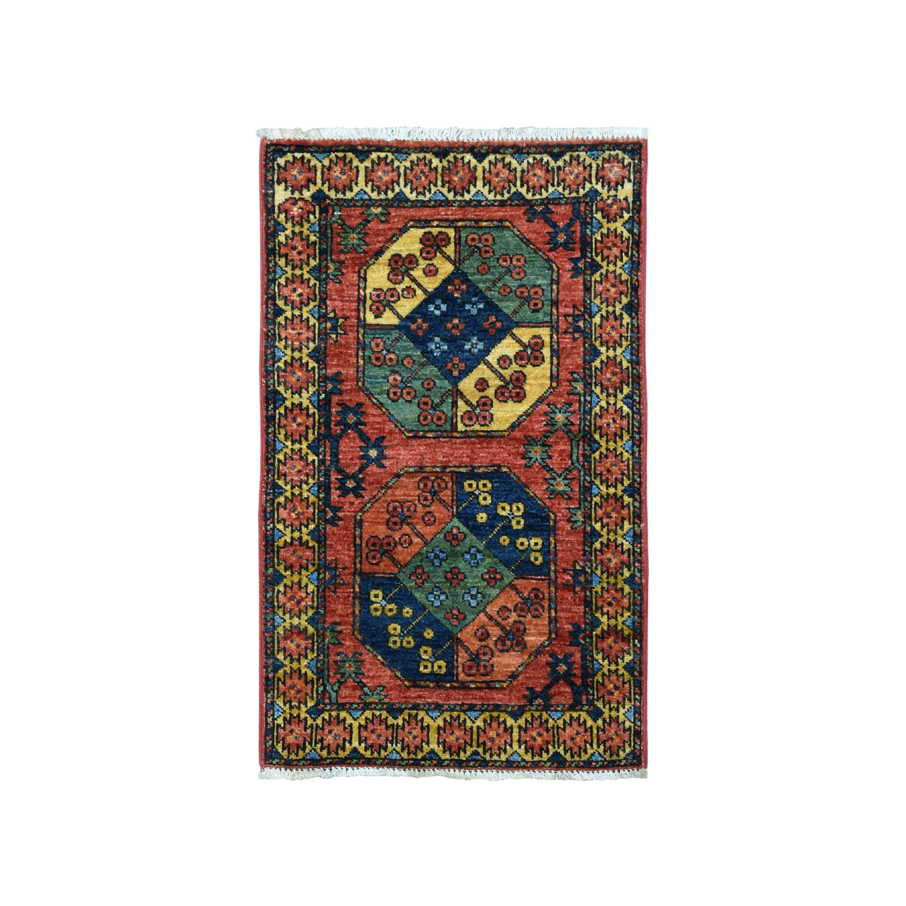 "2'1""X3' Afghan Ersari Elephant Feet Design Pure Wool Hand-Knotted Rug moaeacc6"