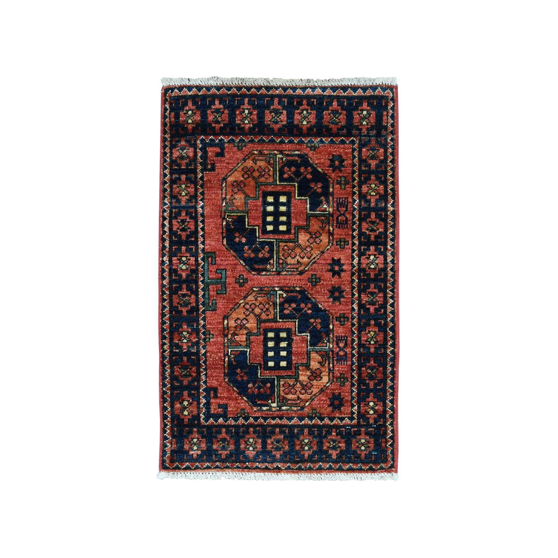 "2'1""X3'afghan Ersari Elephant Feet Design Pure Wool Hand-Knotted Oriental Rug moaeacc7"
