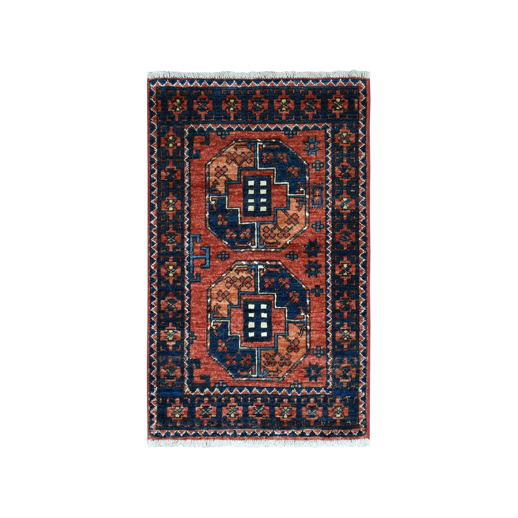 2'X3' Afghan Ersari Elephant Feet Design Pure Wool Hand-Knotted Oriental Rug moaeacc9