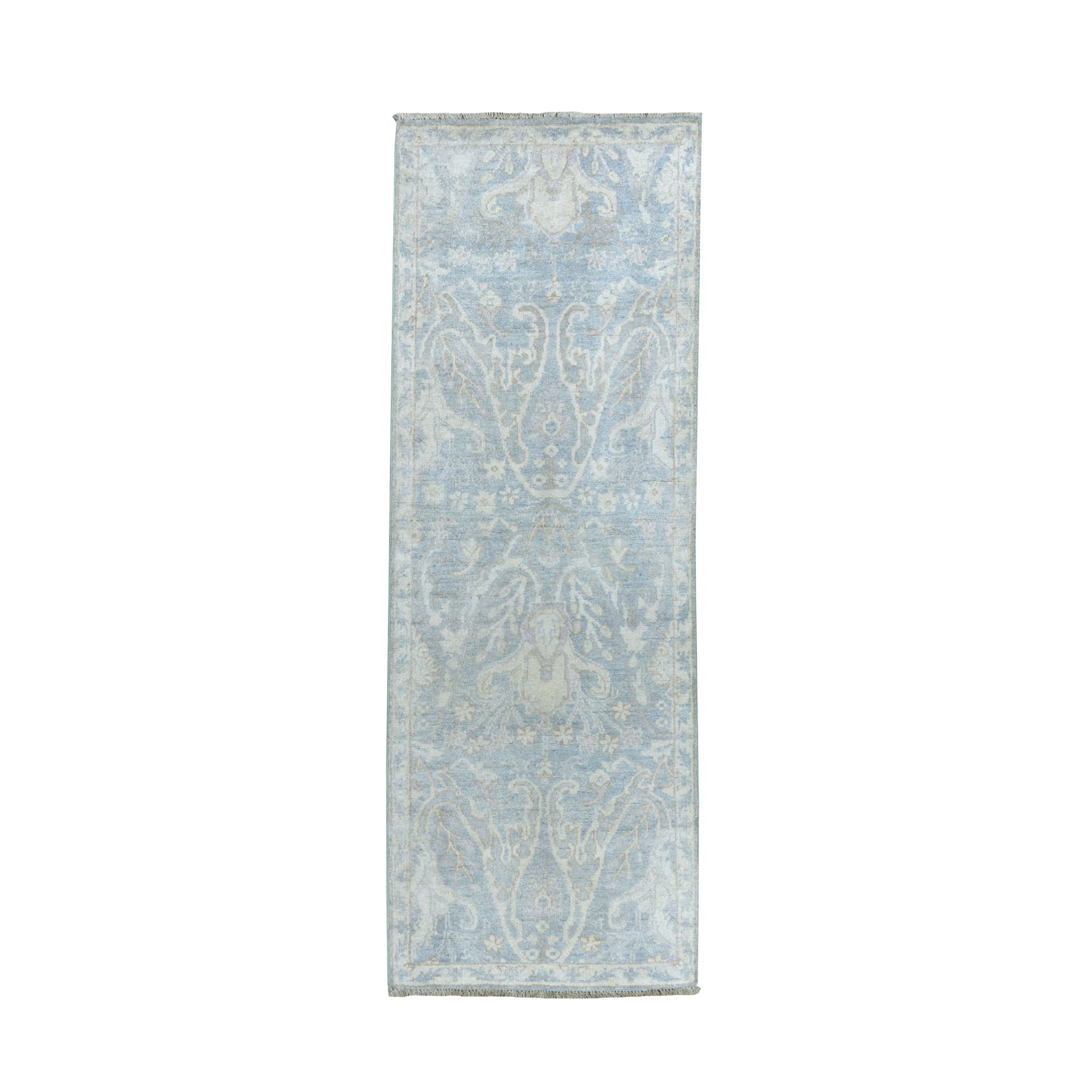 """2'1""""X5'10"""" White Wash Peshawar Pure Wool Hand-Knotted Runner Oriental Rug moaeacdc"""