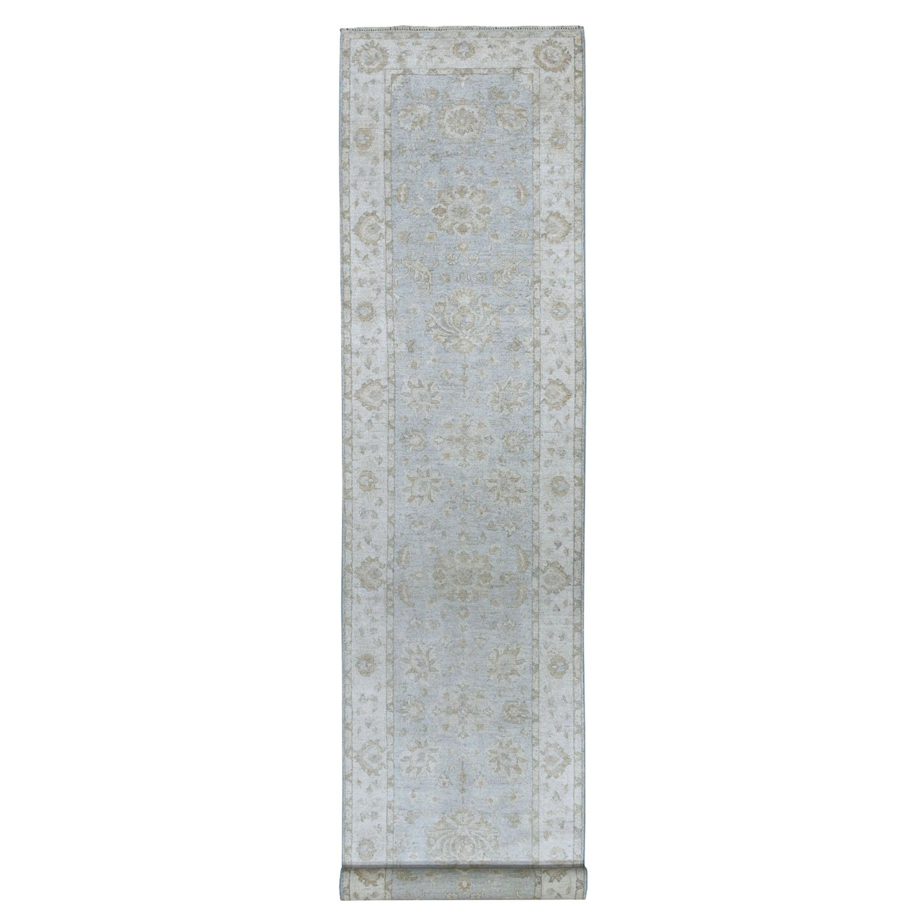 "2'8""X12'8"" White Wash Peshawar Pure Wool Hand Knotted Runner Oriental Rug moaeacdd"