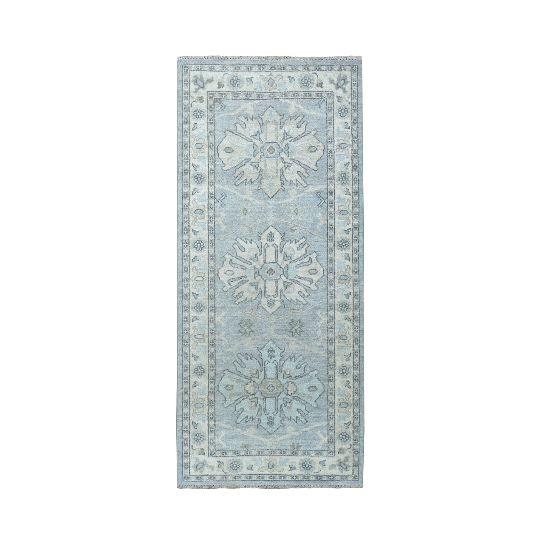 "2'7""X5'10""  White Wash Peshawar Pure Wool Hand Knotted Runner Oriental Rug moaeacde"