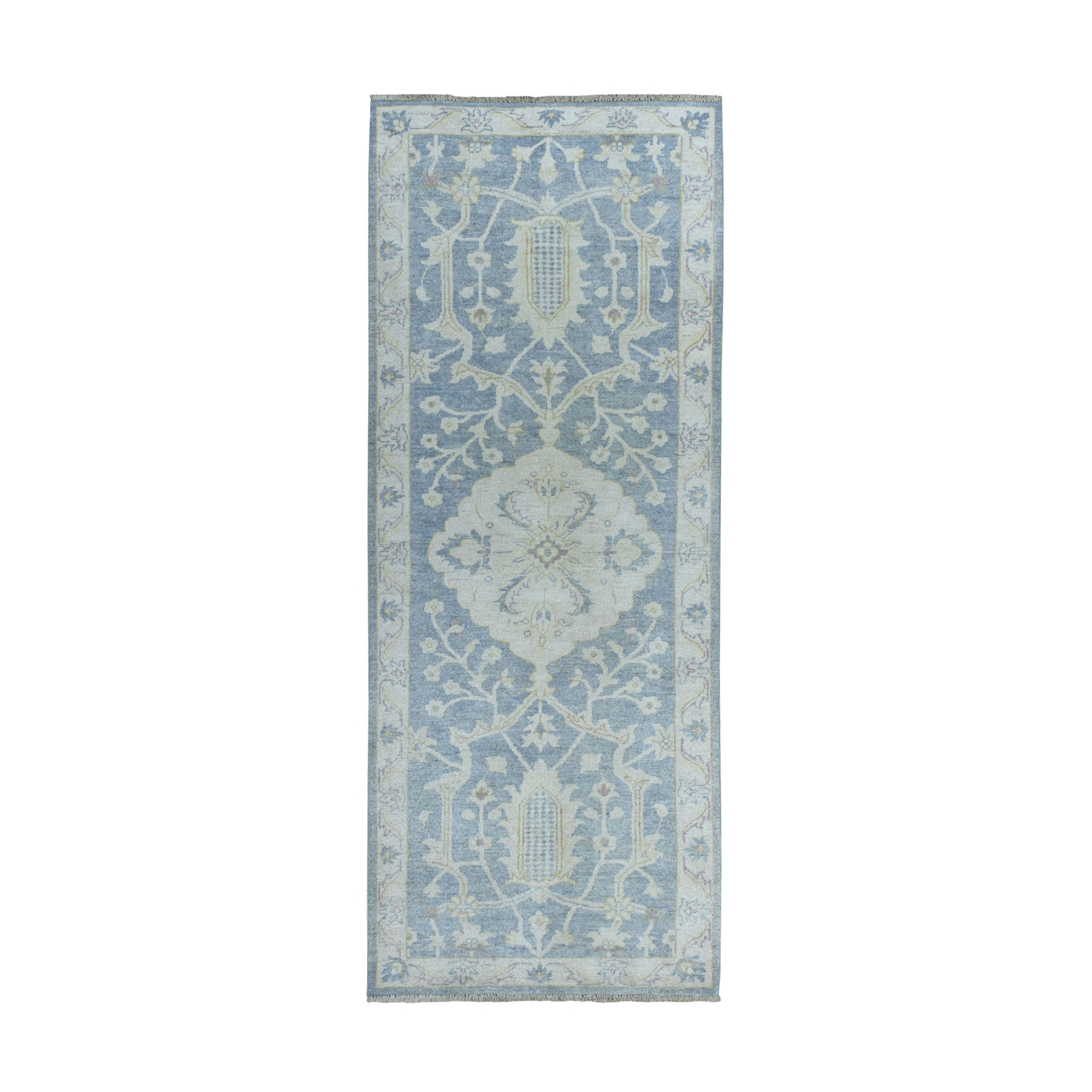 """2'7""""X6'8"""" White Wash Peshawar Pure Wool Hand-Knotted Runner Oriental Rug moaeacd6"""