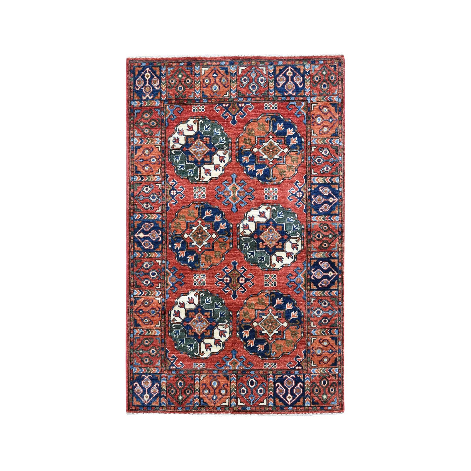 "3'4""X4'9"" Afghan Ersari Elephant Feet Design Pure Wool Hand-Knotted Oriental Rug moaeace0"