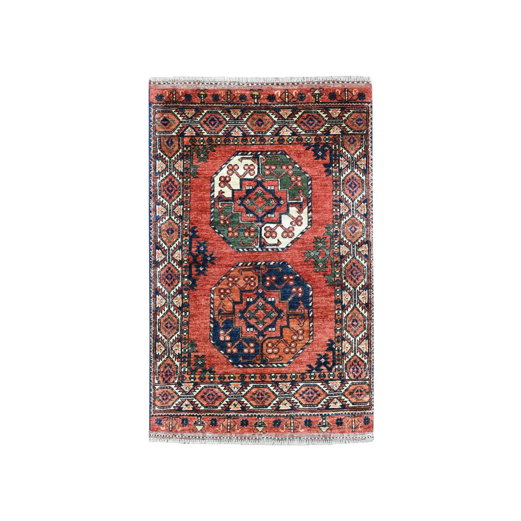 "2'10""X4'3"" Afghan Ersari Elephant Feet Design Pure Wool Hand Knotted Oriental Rug moaeace9"