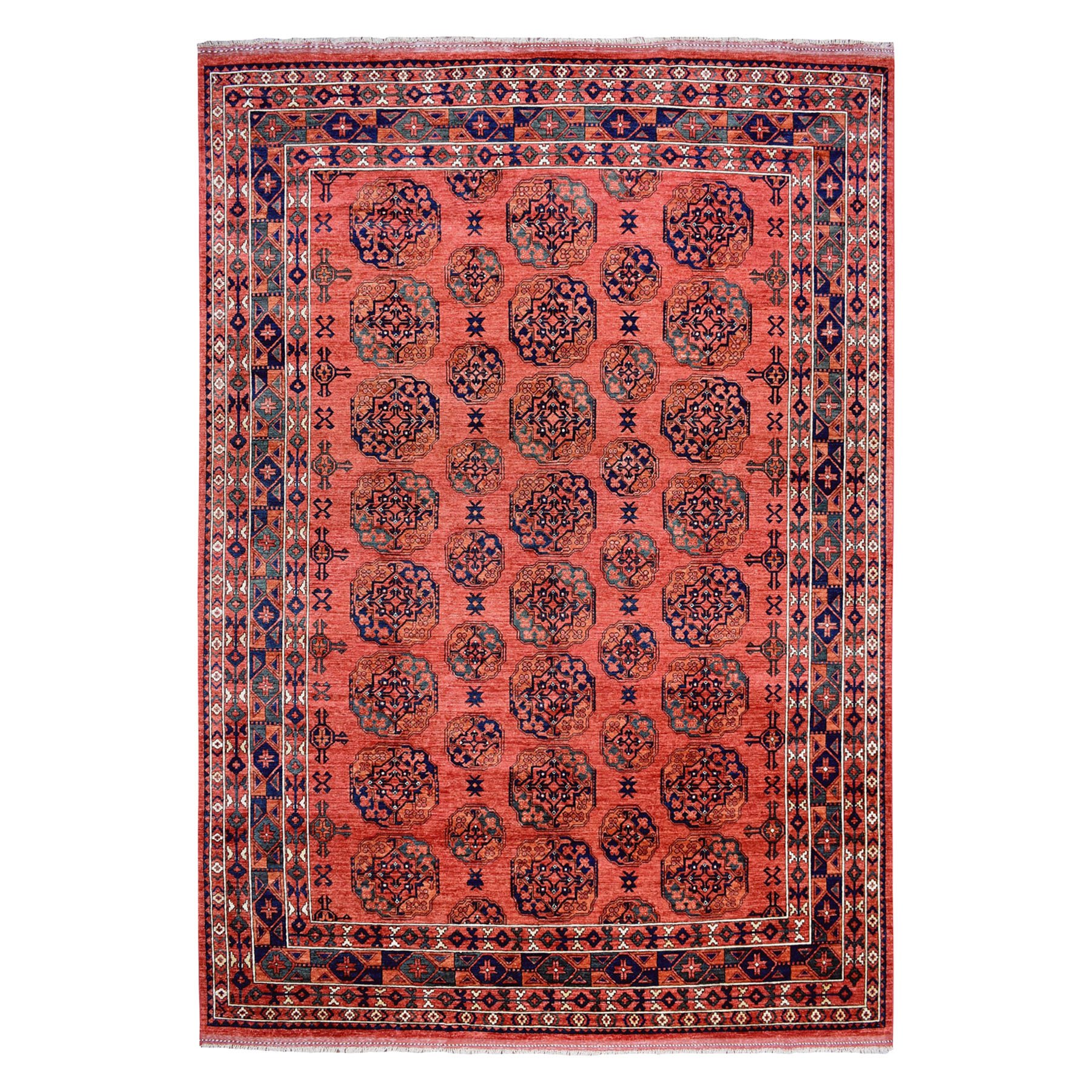 "10'X12'10"" Afghan Ersari Elephant Feet Design Pure Wool Hand-Knotted Oriental Rug moaeac6a"