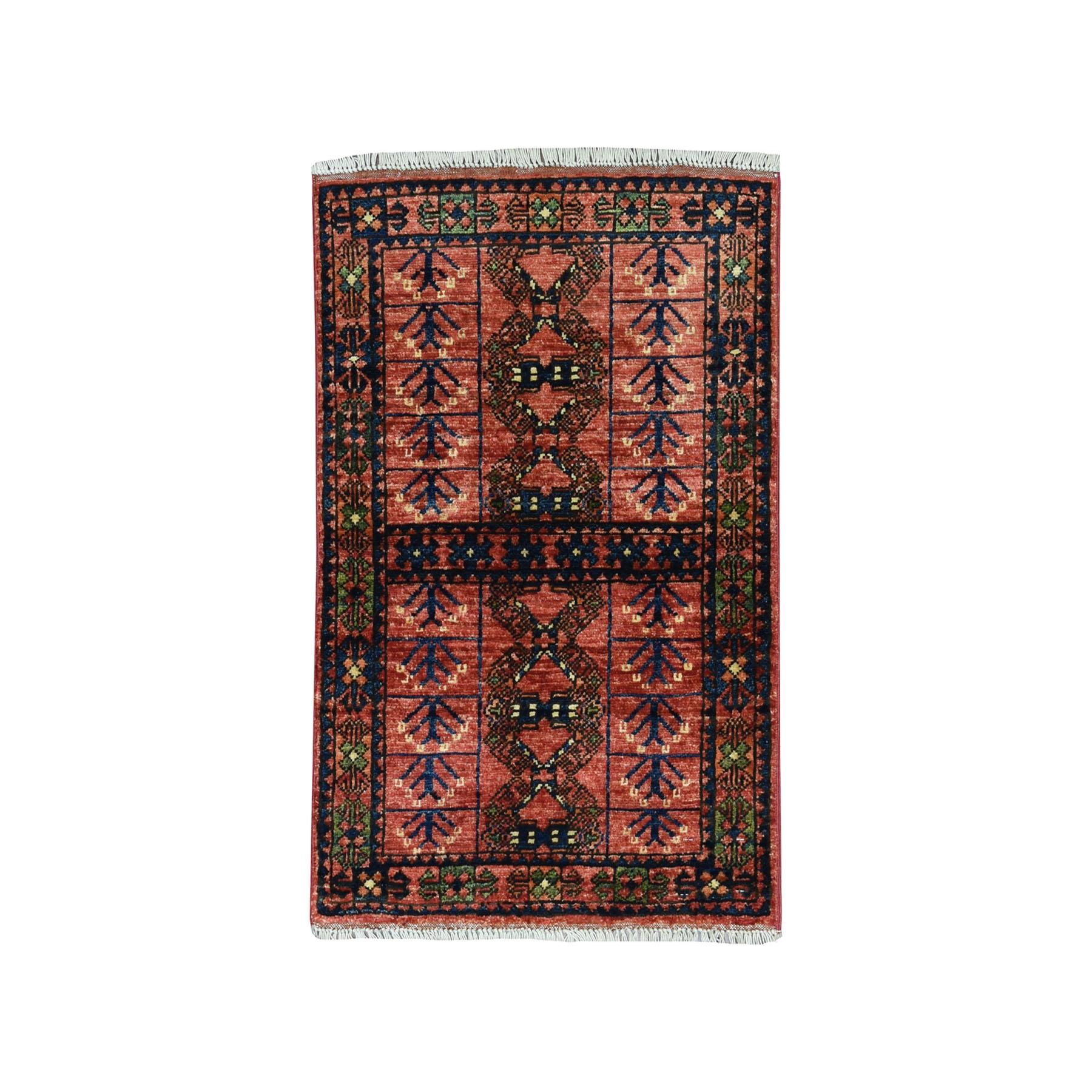 2'x3' Afghan Ersari Pure Wool Hand Knotted Oriental Rug