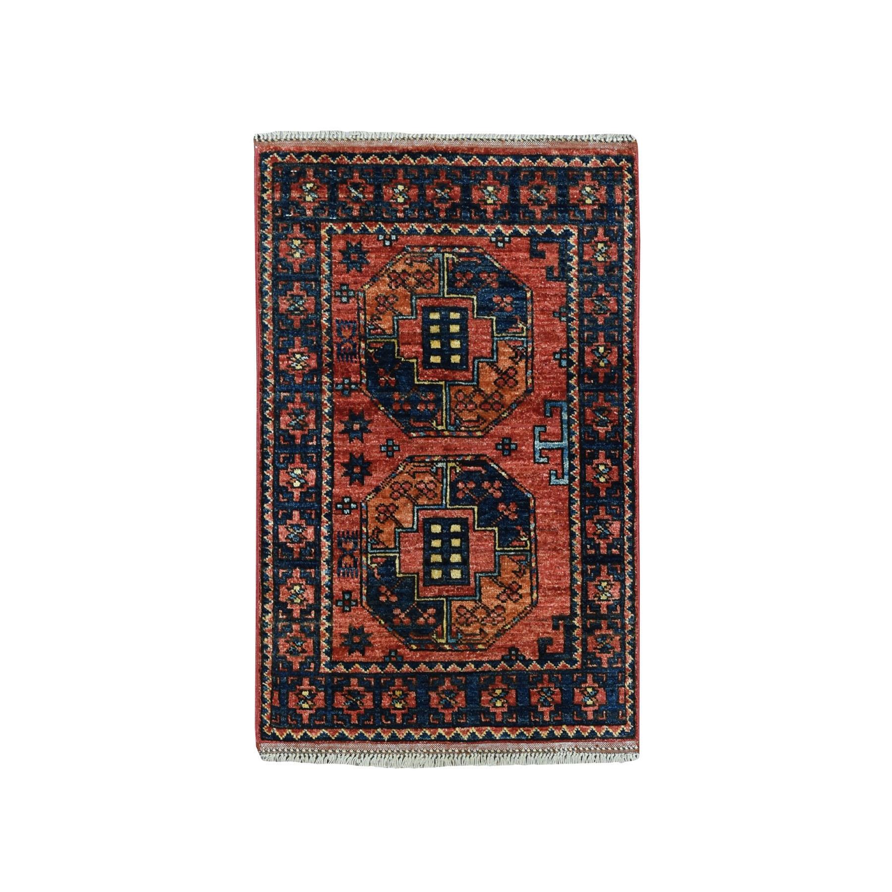 "2'1""X3' Afghan Ersari Elephant Feet Design Pure Wool Hand Knotted Oriental Rug moaeac6d"