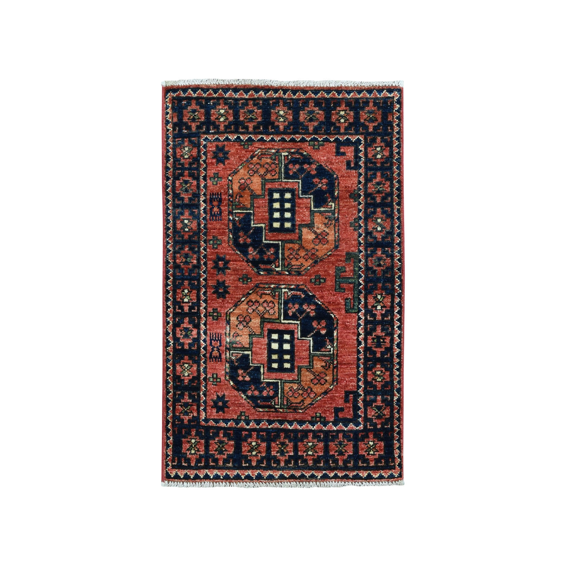 2'X3' Afghan Ersari Pure Wool Hand-Knotted Oriental Rug moaeac70