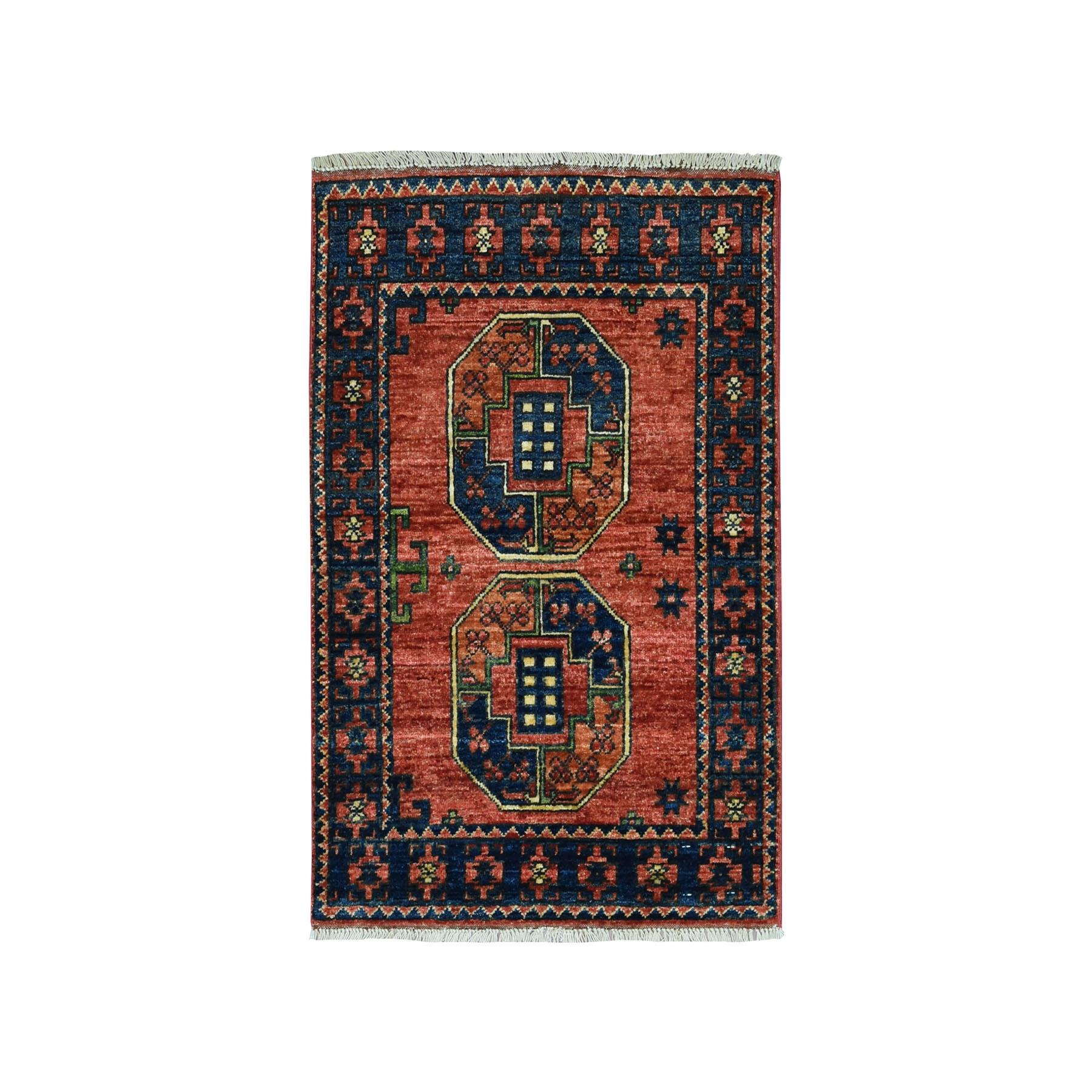 "2'1""X3'2"" Afghan Ersari Elephant Feet Design Pure Wool Hand Knotted Oriental Rug moaeac76"