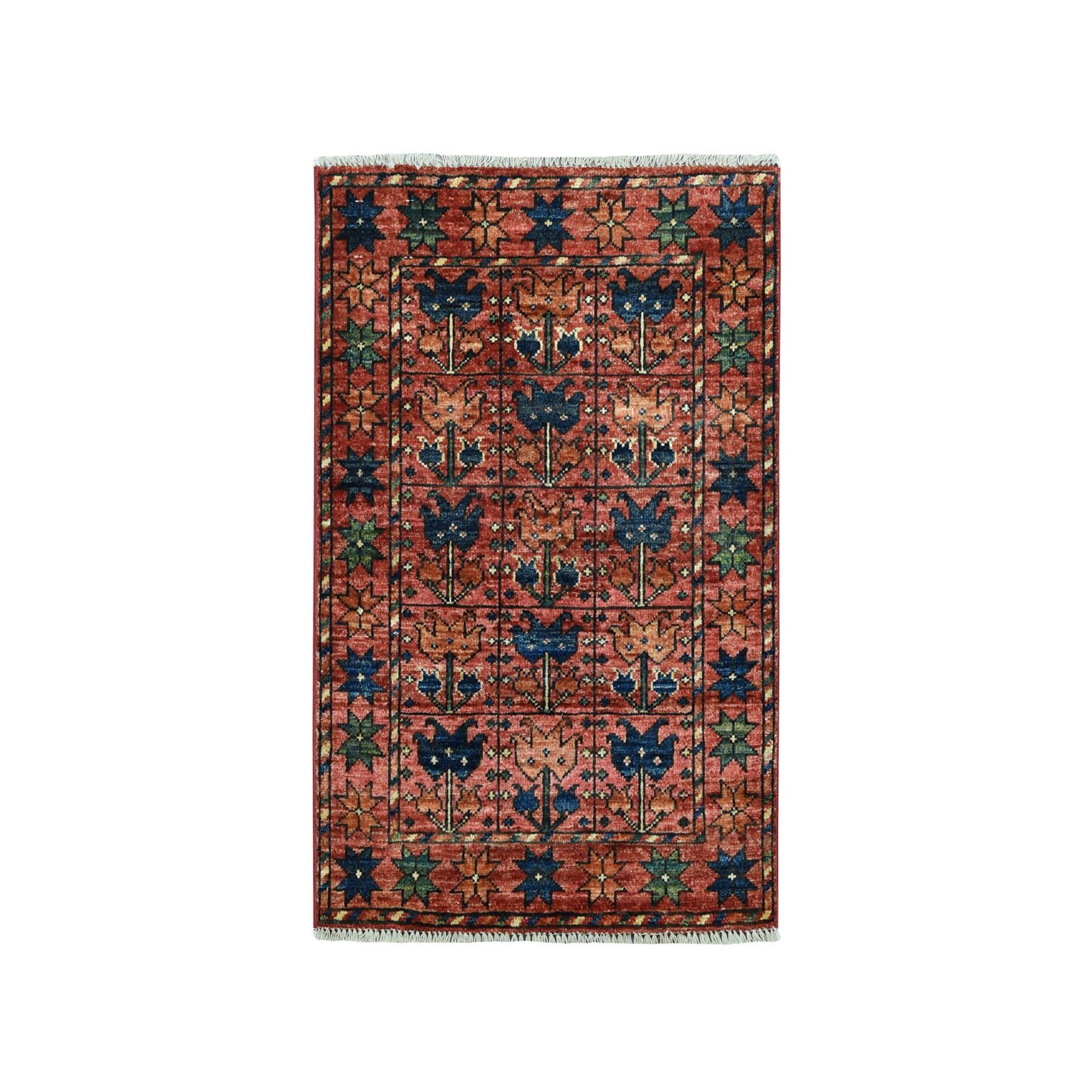 "2'1""X2'10"" Afghan Ersari Pure Wool Hand Knotted Oriental Rug moaeac78"