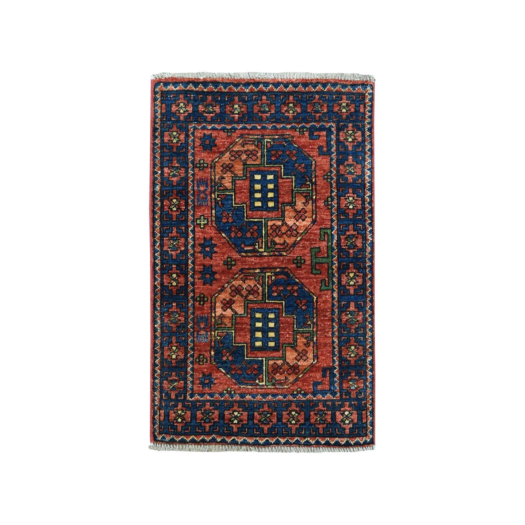 "2'1""X3' Afghan Ersari Elephant Feet Design Pure Wool Hand Knotted Oriental Rug moaeac79"