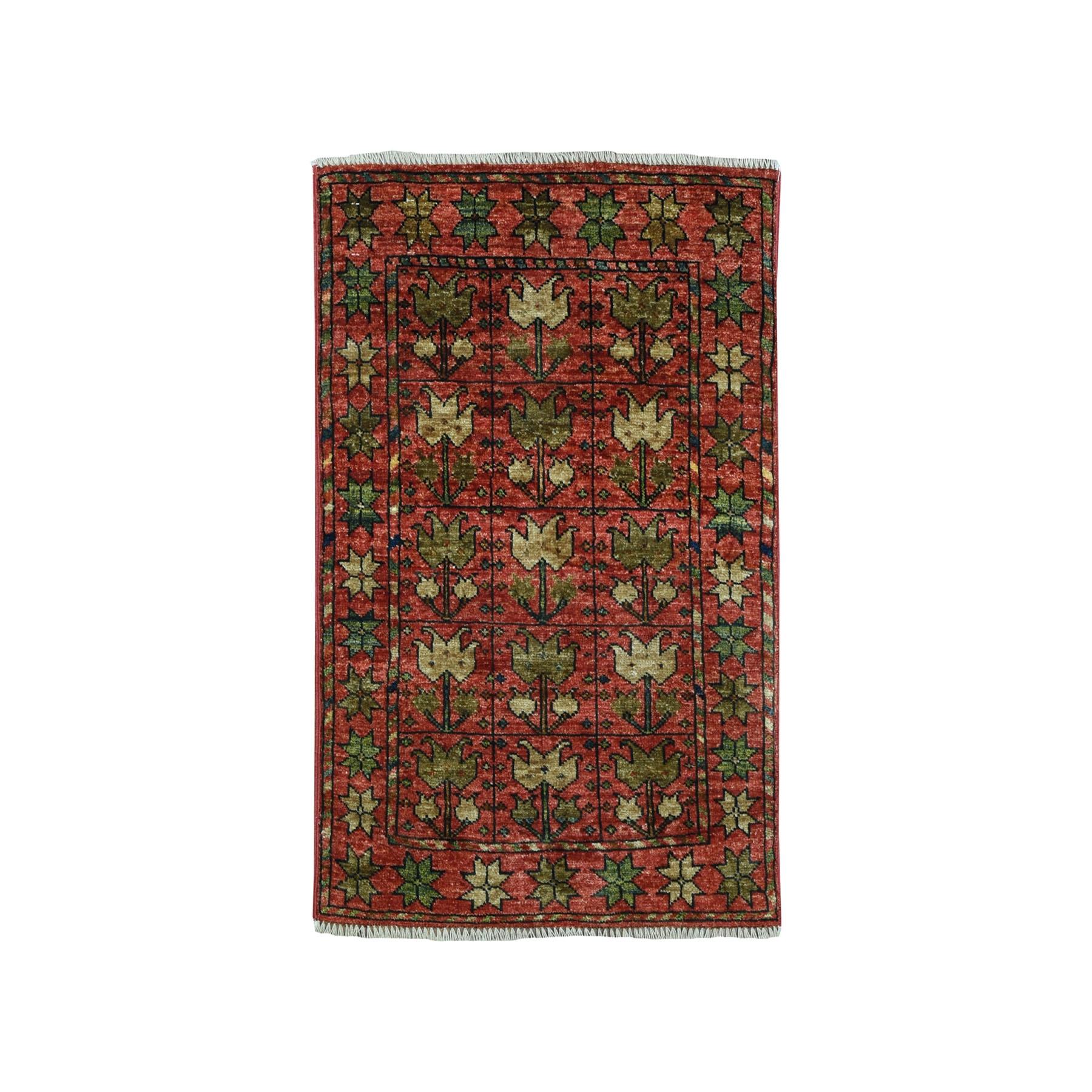 2'X3' Afghan Ersari Pure Wool Hand Knotted Oriental Rug moaeac86