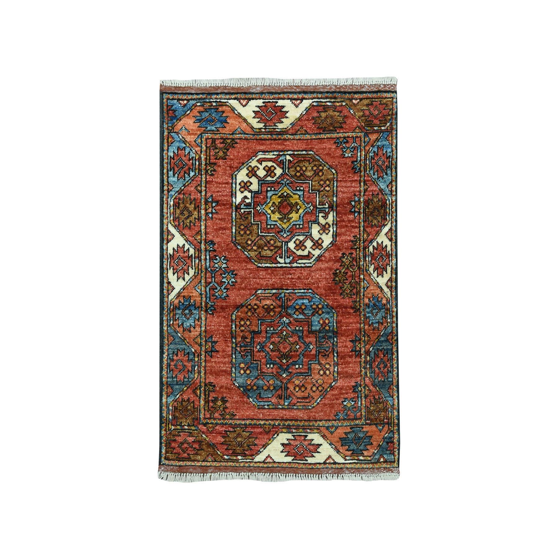 "2'X2'9"" Afghan Ersari Elephant Feet Design Pure Wool Hand Knotted Oriental Rug moaeac88"