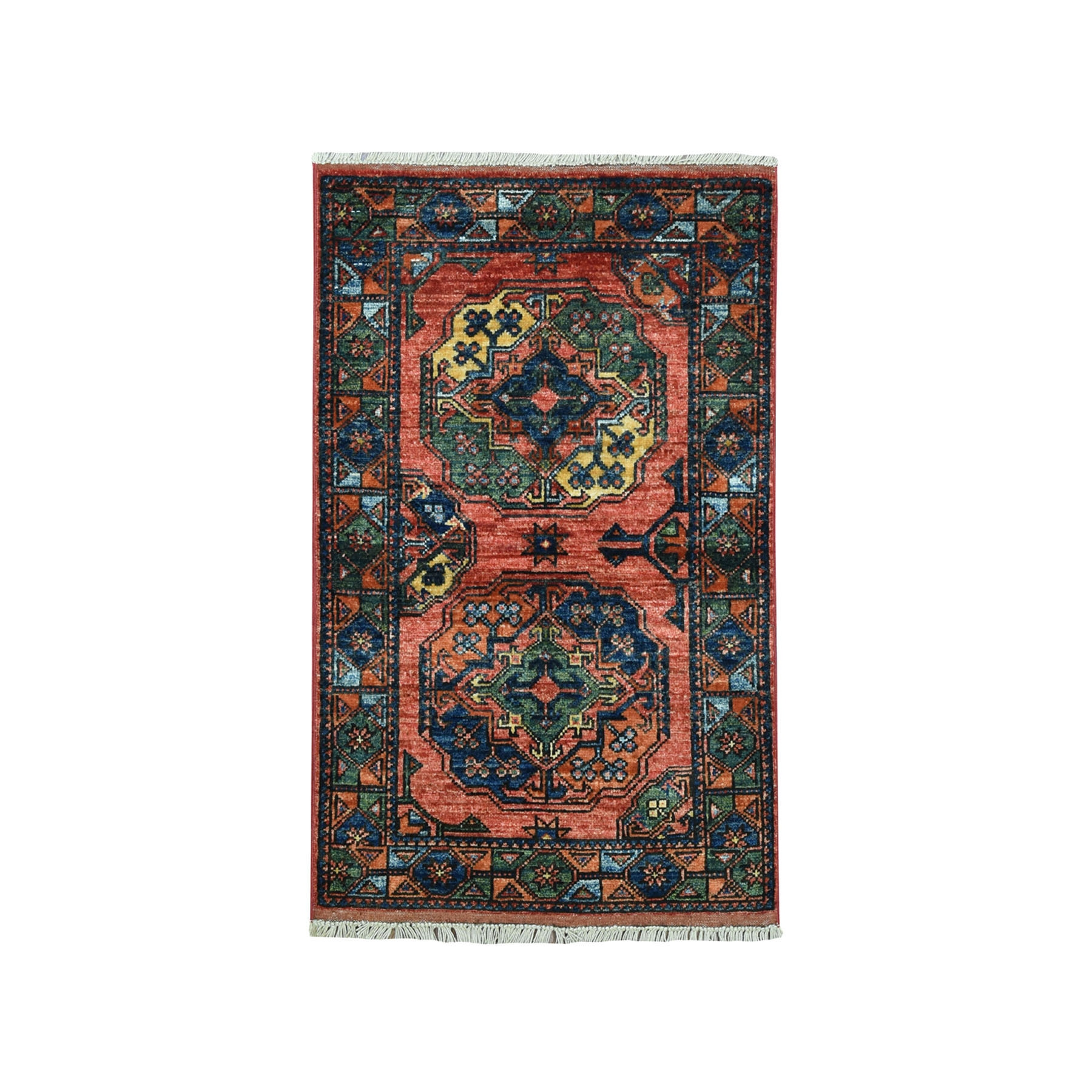 2'X3' Afghan Ersari Elephant Feet Design Pure Wool Hand Knotted Oriental Rug moaeac98