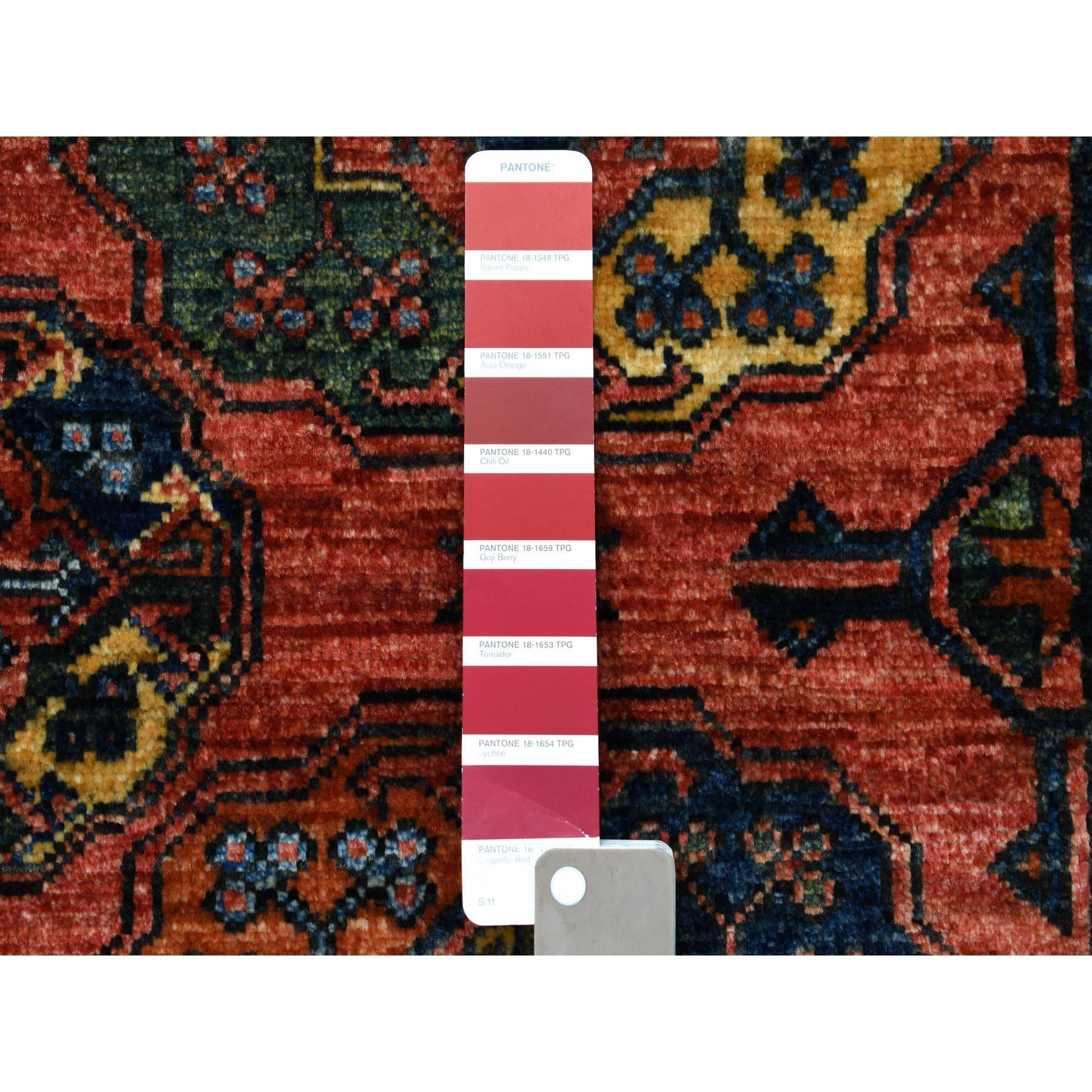 2'x3' Afghan Ersari Elephant Feet Design Pure Wool Hand Knotted Oriental Rug