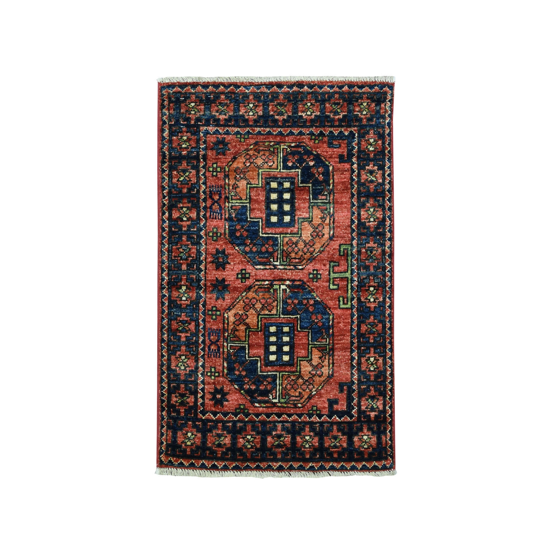 2'X3' Afghan Ersari Elephant Feet Design Pure Wool Hand Knotted Oriental Rug moaead0c