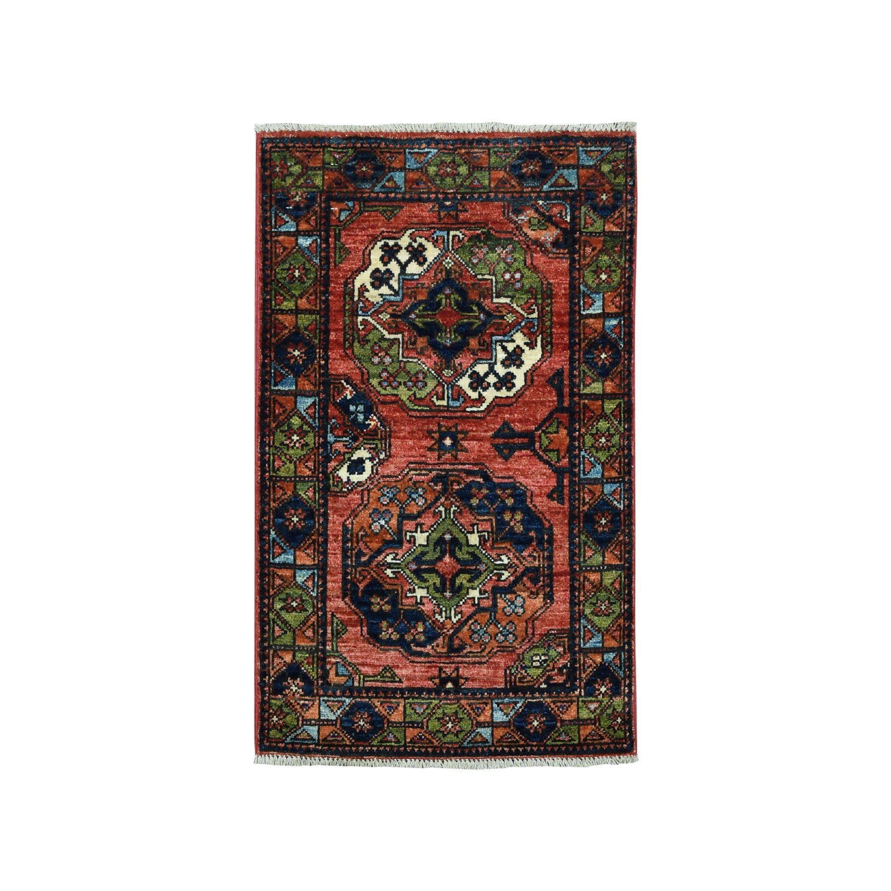 2'X3' Afghan Ersari Elephant Feet Design Pure Wool Hand Knotted Oriental Rug moaead0d