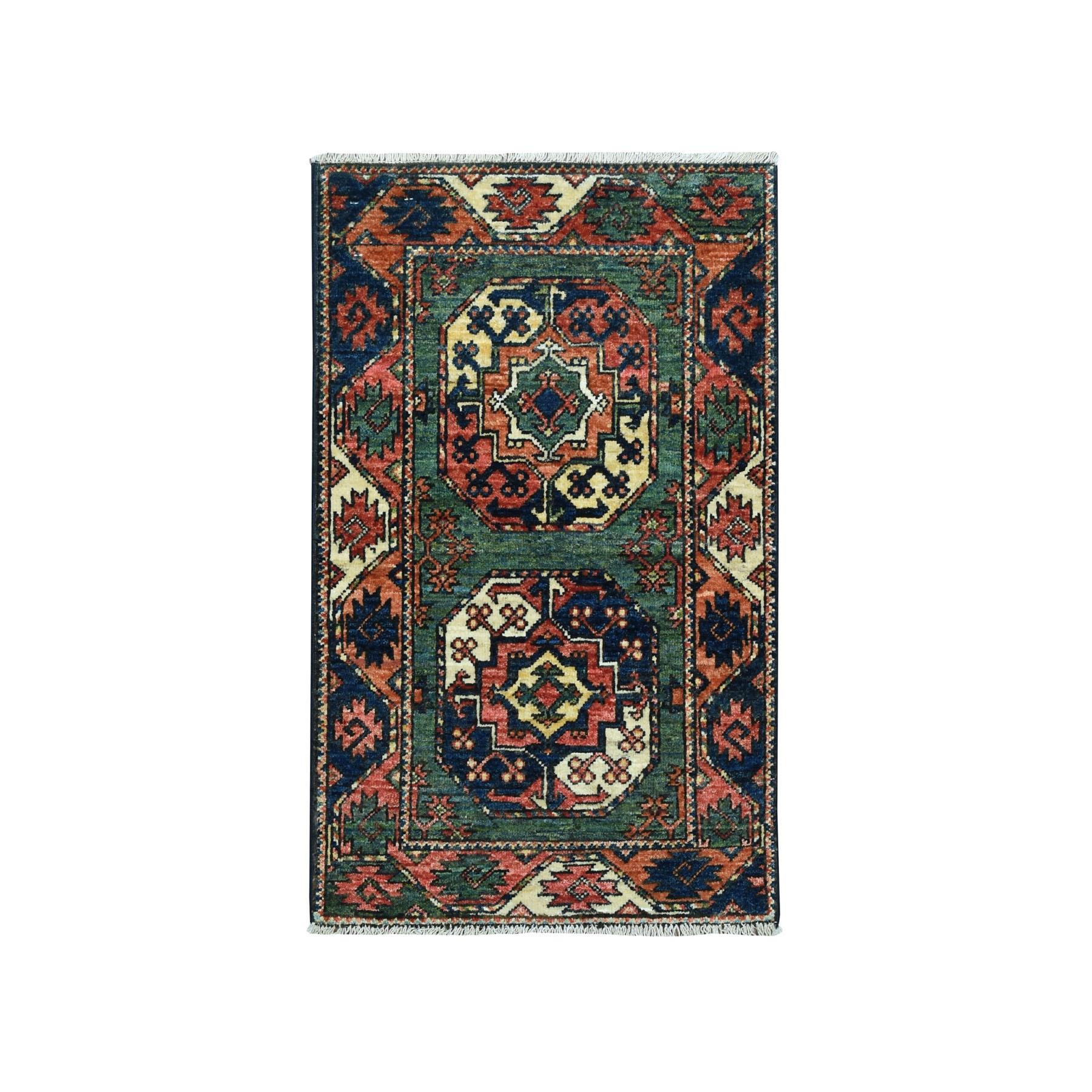 "2'X3'2"" Afghan Ersari Elephant Feet Design Pure Wool Hand Knotted Rug moaeada0"