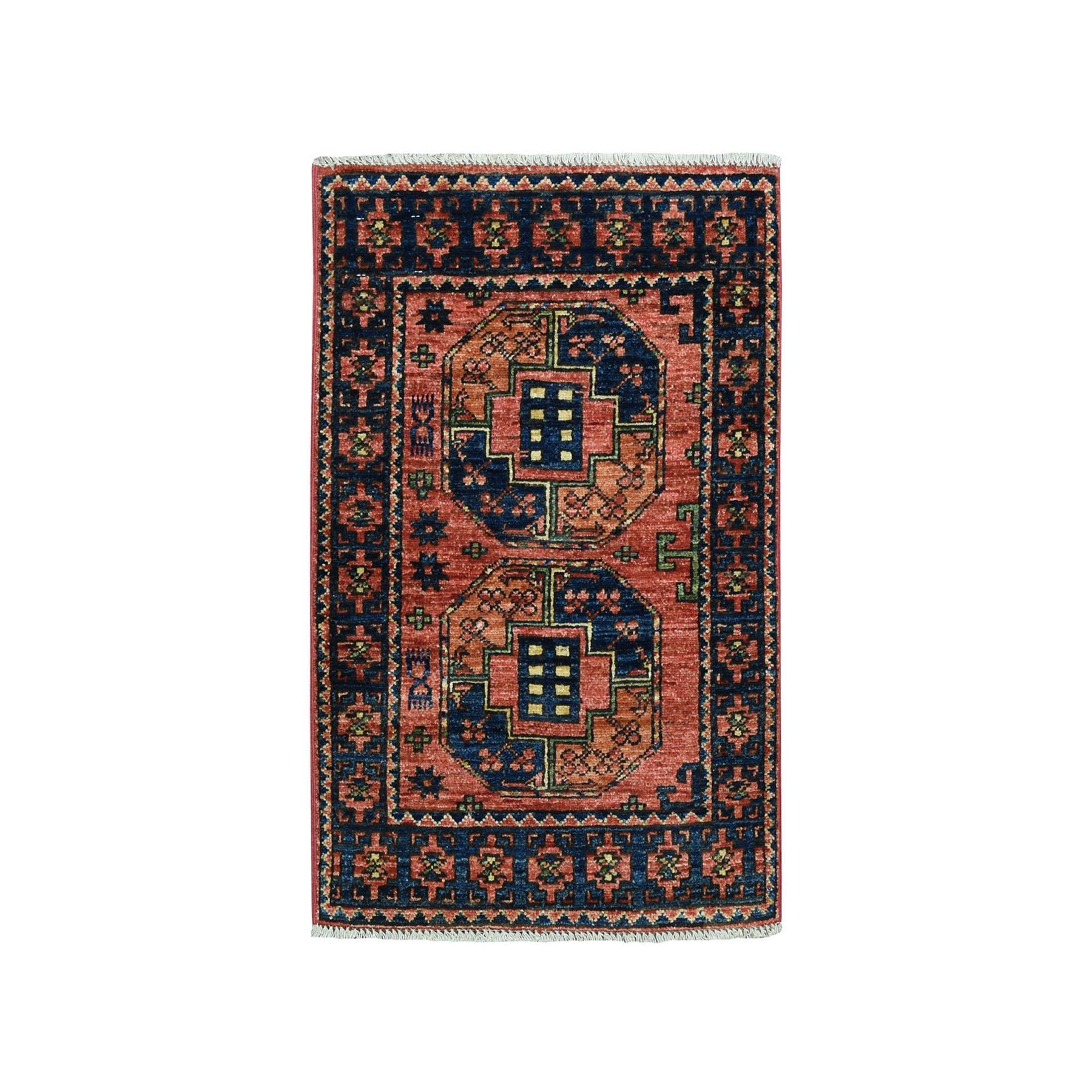 "2'1""X3' Afghan Ersari Elephant Feet Design Pure Wool Hand Knotted Oriental Rug moaeadaa"