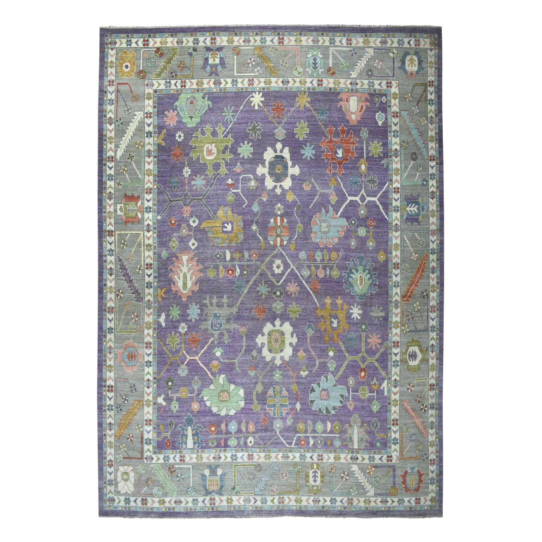 """11'8""""x14'5"""" Oversized Soft Angora Pure Wool Purple Colorful Oushak Wool Foundation Hand-Knotted Oriental Rug"""