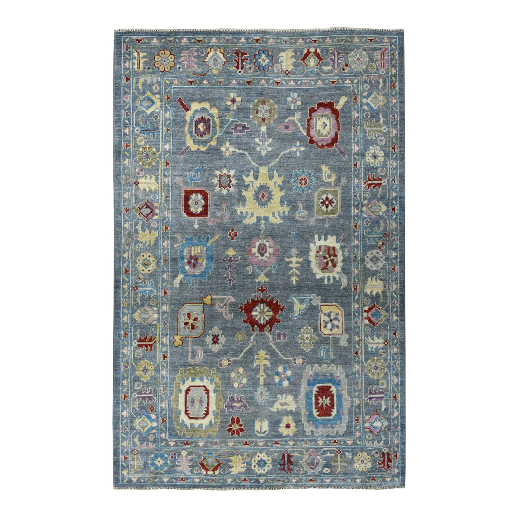 "6'X8'6"" Soft Angora Pure Wool Gray Oushak Hand-Knotted Colorful Oriental Rug moaeadad"
