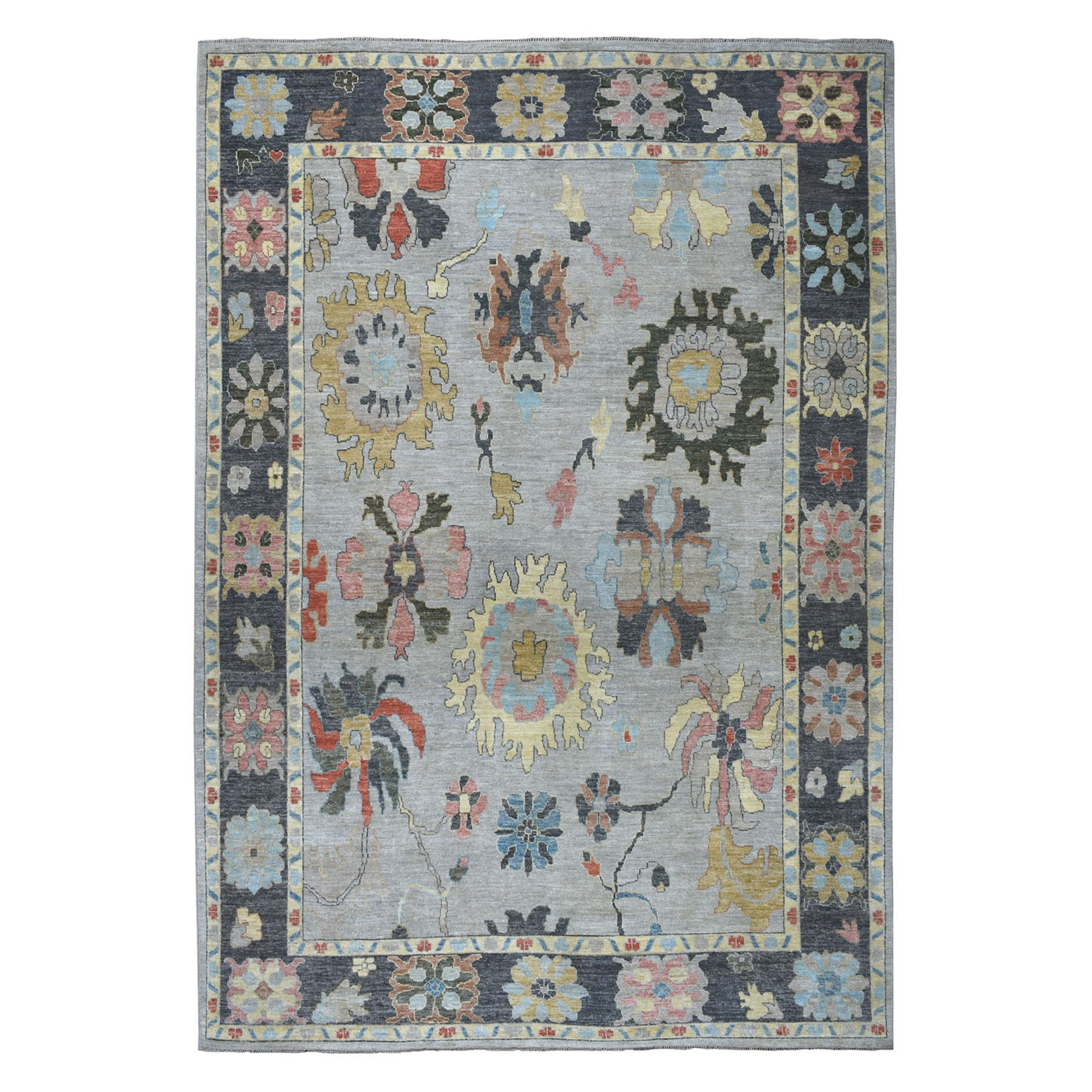"""10'X13'5"""" Soft Angora Pure Wool Gray Oushak Hand-Knotted Oriental Colorful Rug moaeadae"""