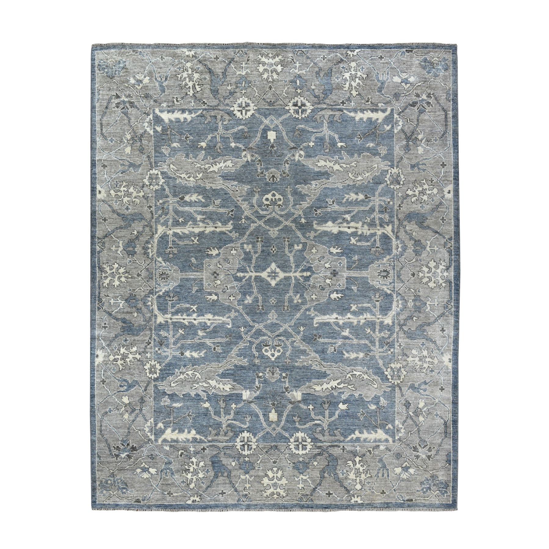 "8'X9'8"" Soft Angora Pure Wool Gray Oushak Hand-Knotted Oriental Rug moaeada6"