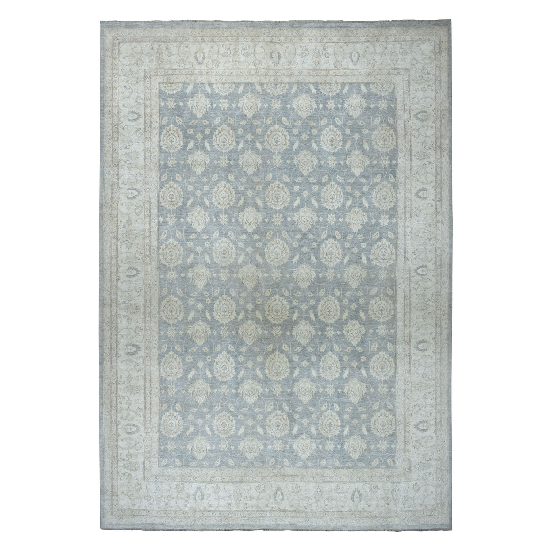 "9'9""X13'8"" White Wash Peshawar Pure Wool Hand-Knotted Oriental Rug moaeada8"