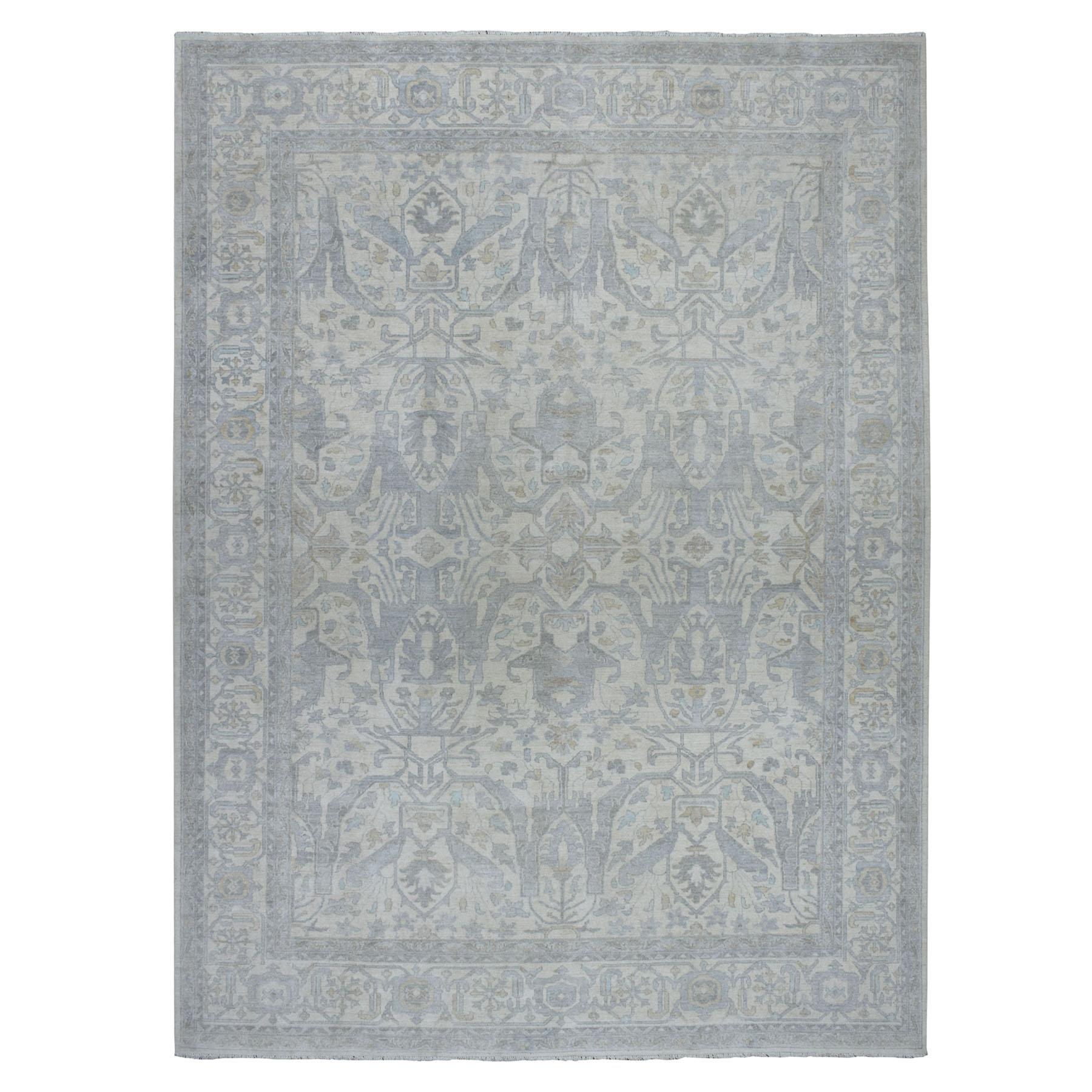 9'X12' White Wash Peshawar Pure Wool Hand-Knotted Oriental Rug moaeada9