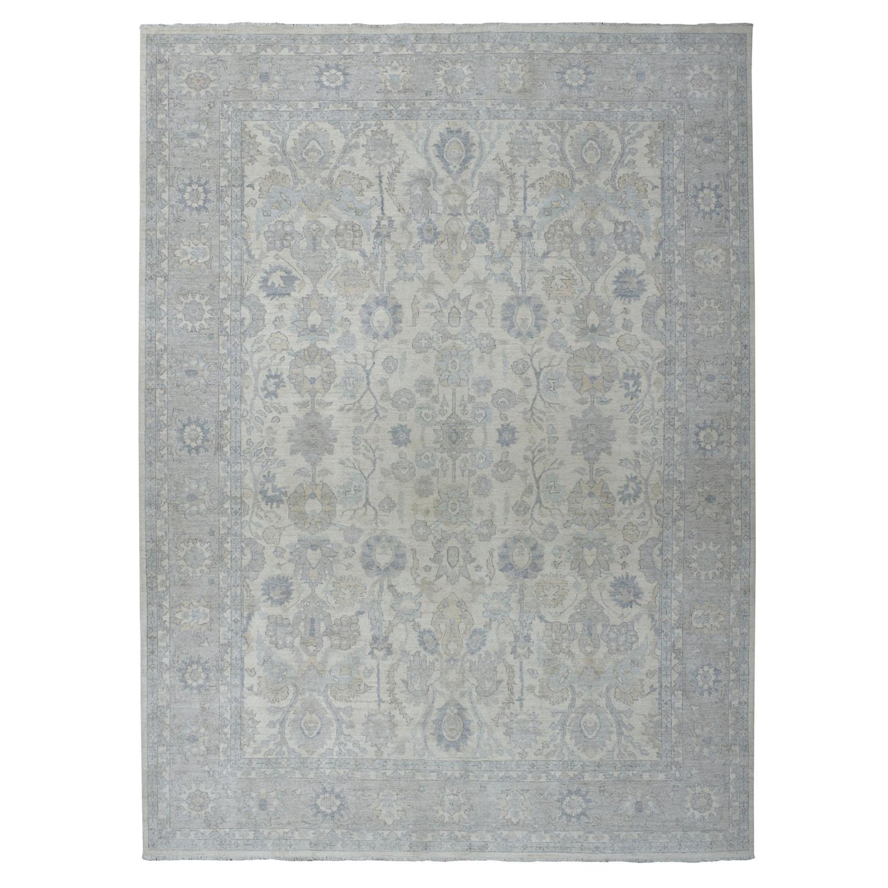 "9'1""X11'9"" White Wash Peshawar Pure Wool Hand-Knotted Oriental Rug moaeadb0"