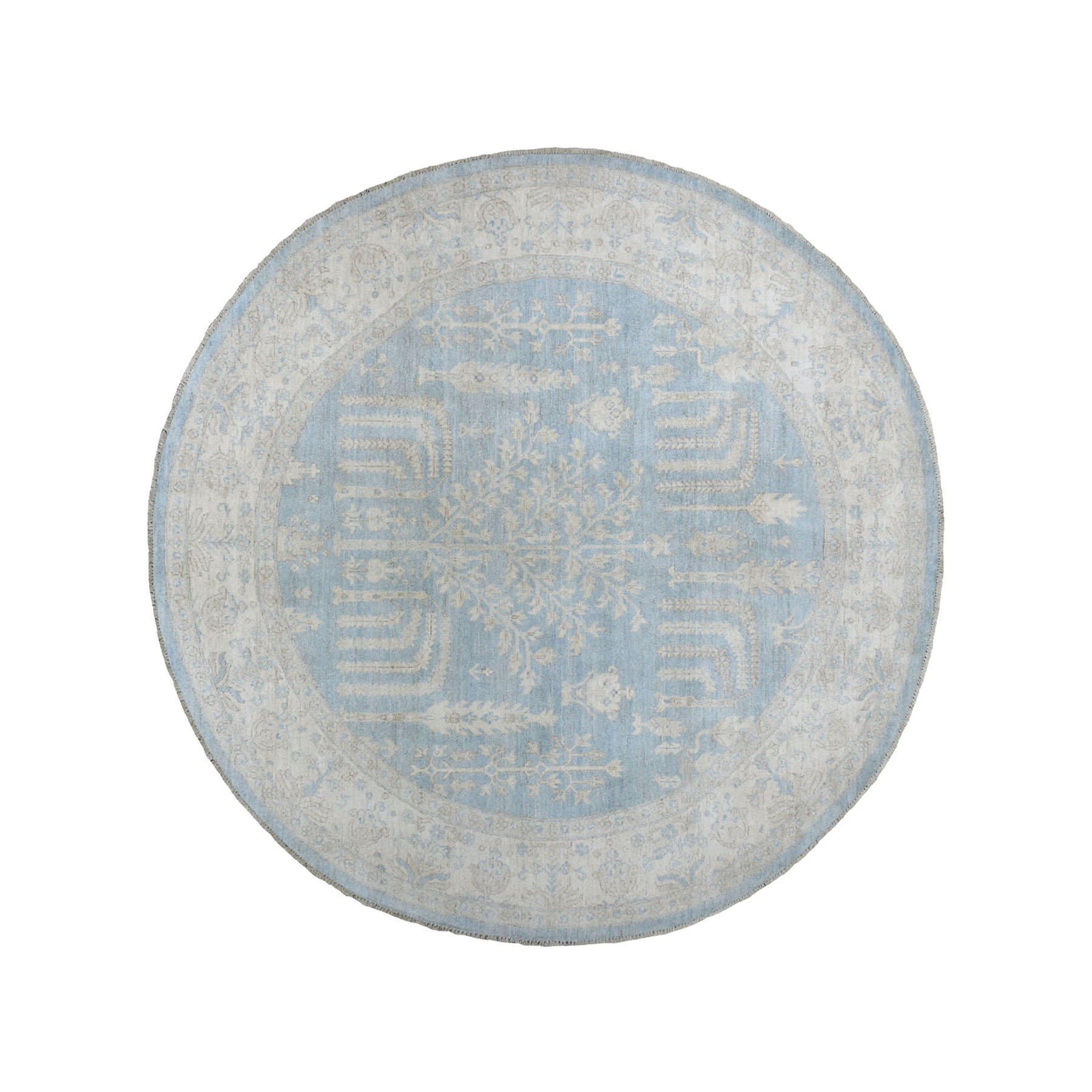 """7'9'X7'9"""" Round White Wash Peshawar With Cypress Tree Design Pure Wool Hand-Knotted Oriental Rug moaeadba"""