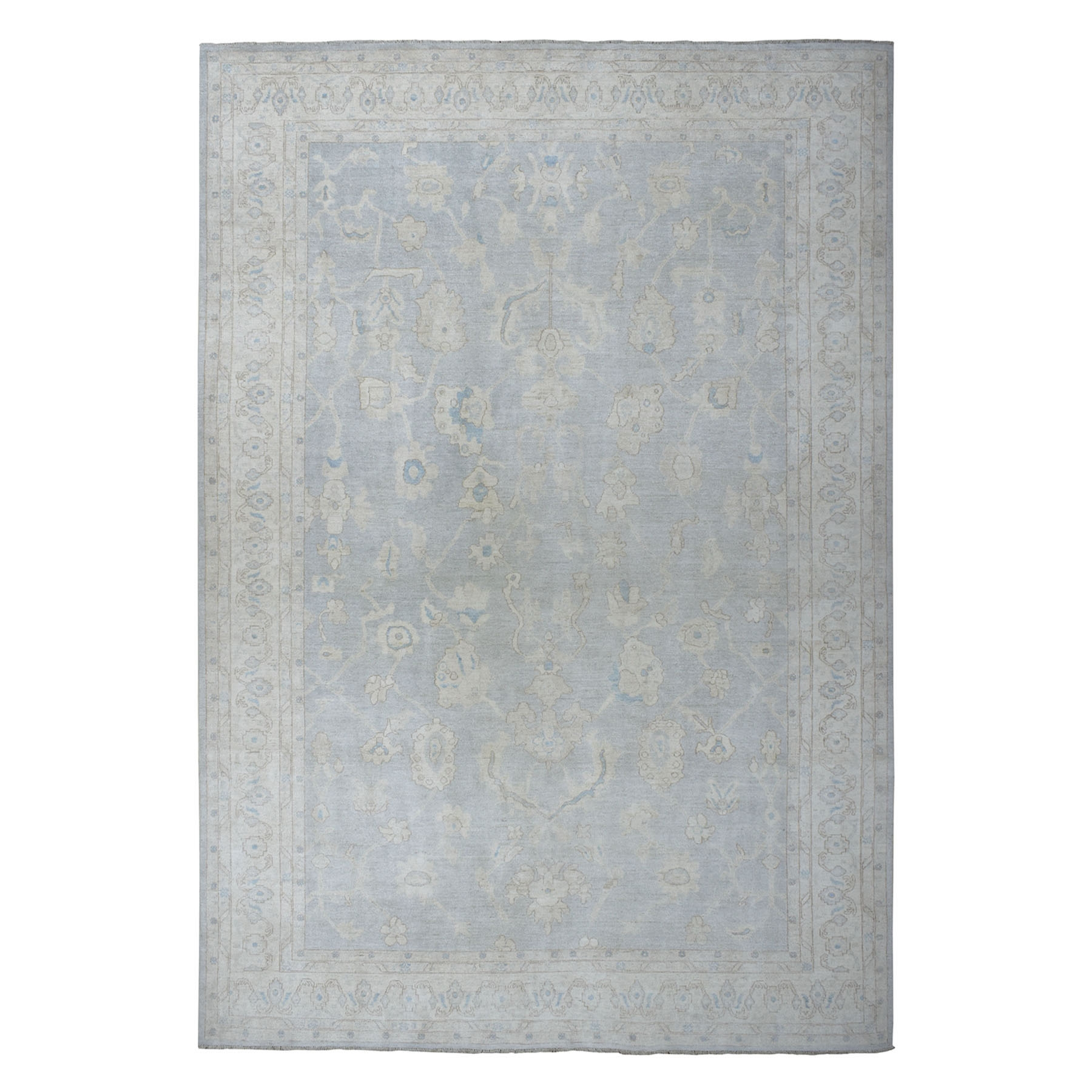 """9'8""""X13'6"""" White Wash Peshawar Pure Wool Hand-Knotted Oriental Rug moaeadbc"""