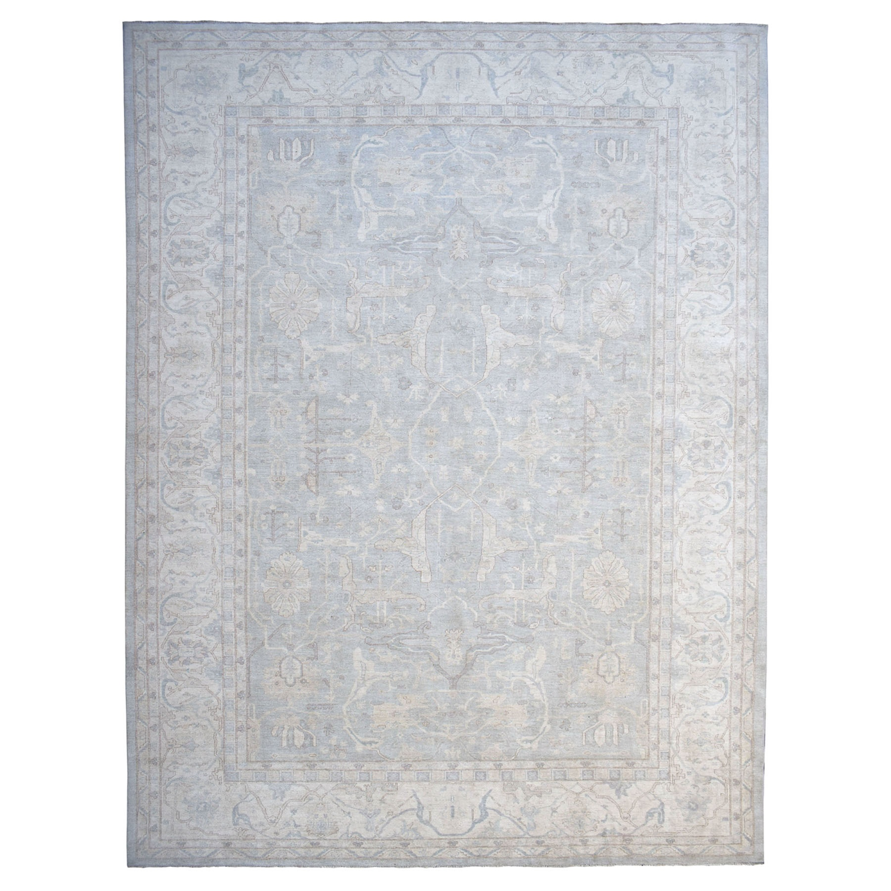 """12'8""""X19'9"""" Oversized White Wash Peshawar Pure Wool Hand-Knotted Oriental Rug moaeadbd"""