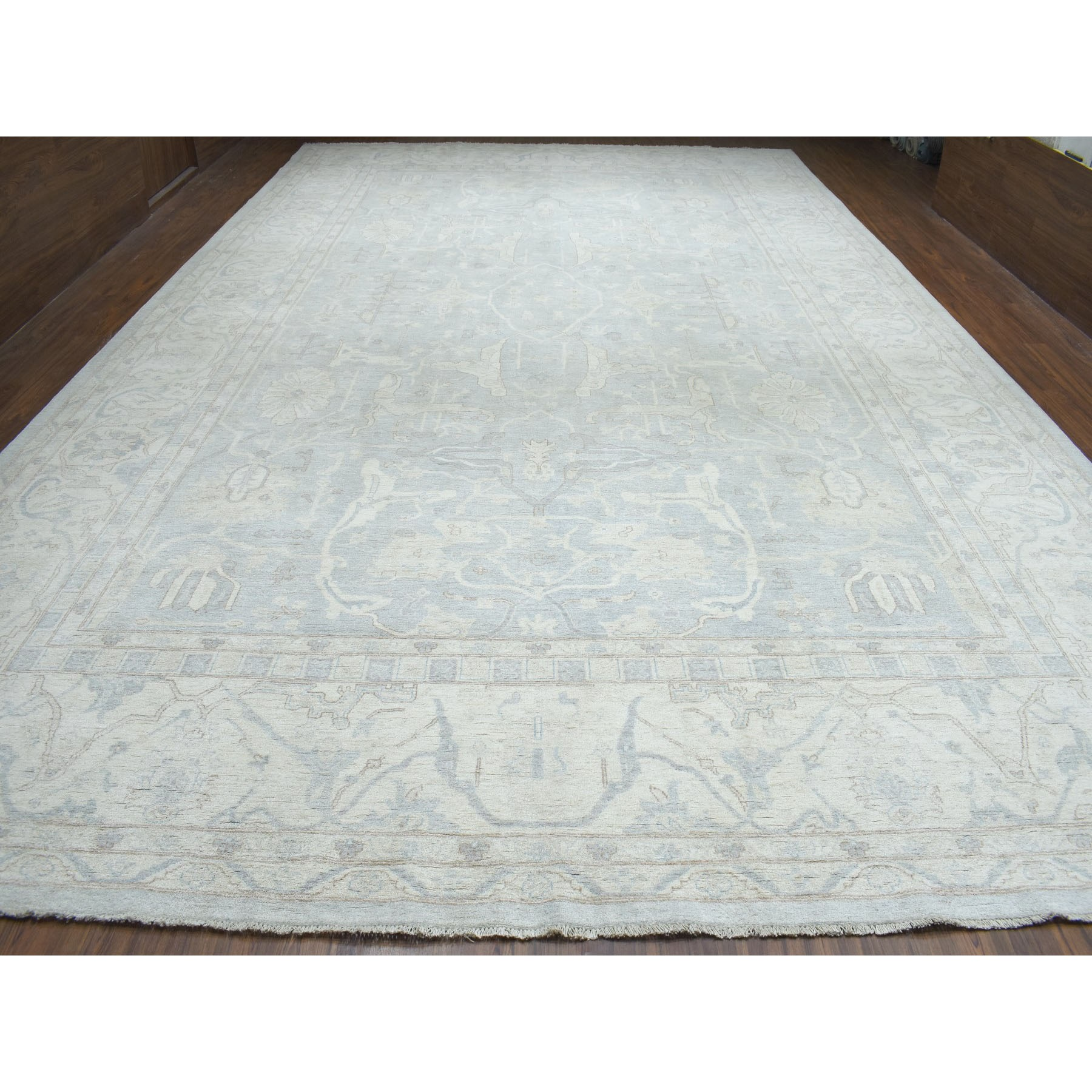 12-8 x19-9  Oversized White Wash Peshawar Pure Wool Hand-Knotted Oriental Rug