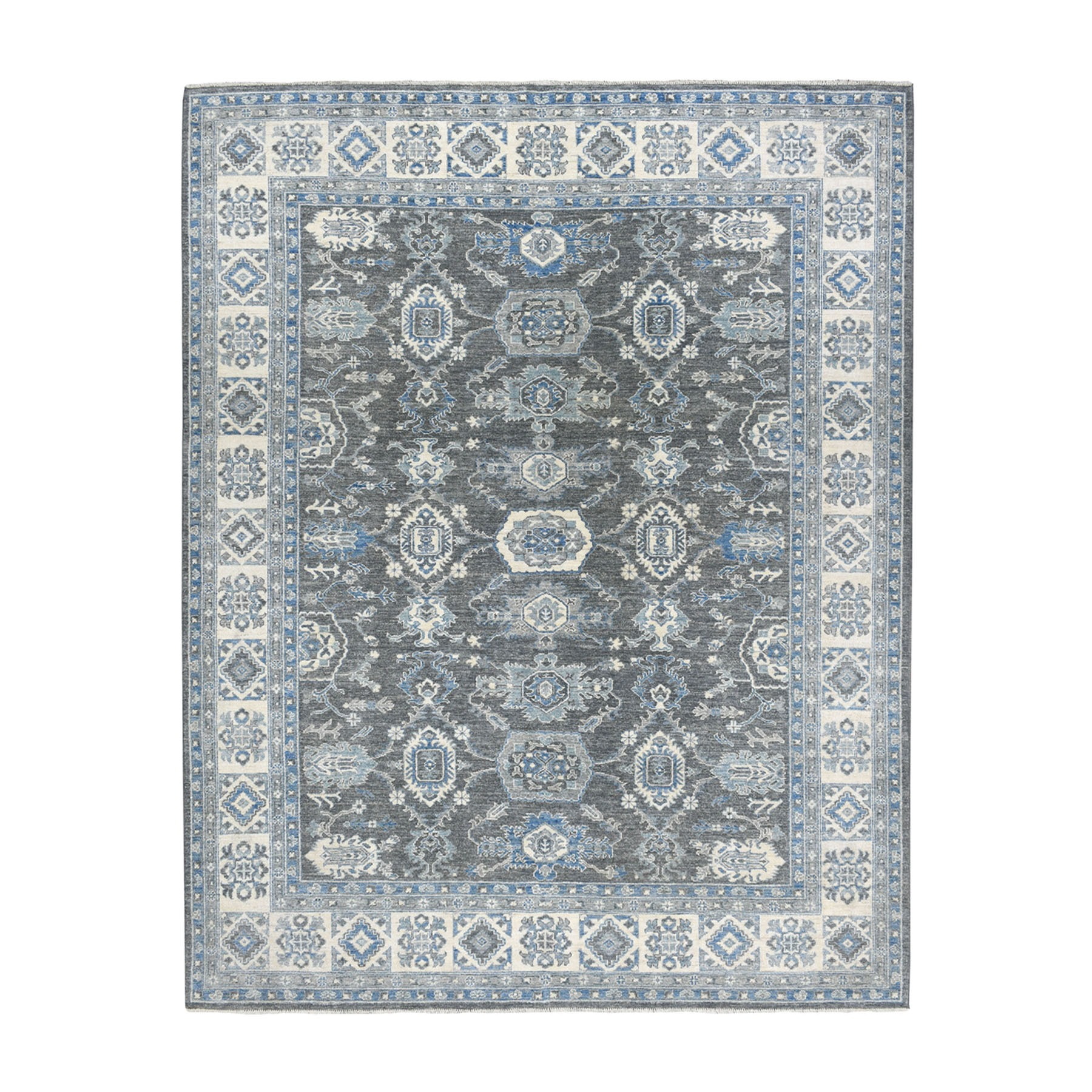 "8'2""X10' Gray Pure Wool Hand-Knotted Peshawar With Karajeh Design Oriental Rug moaeadb7"